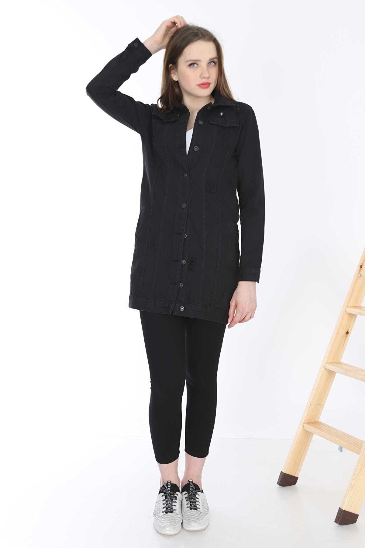 Mayın Kadın Siyah Uzun Kot Ceket MYN6053-01-20010