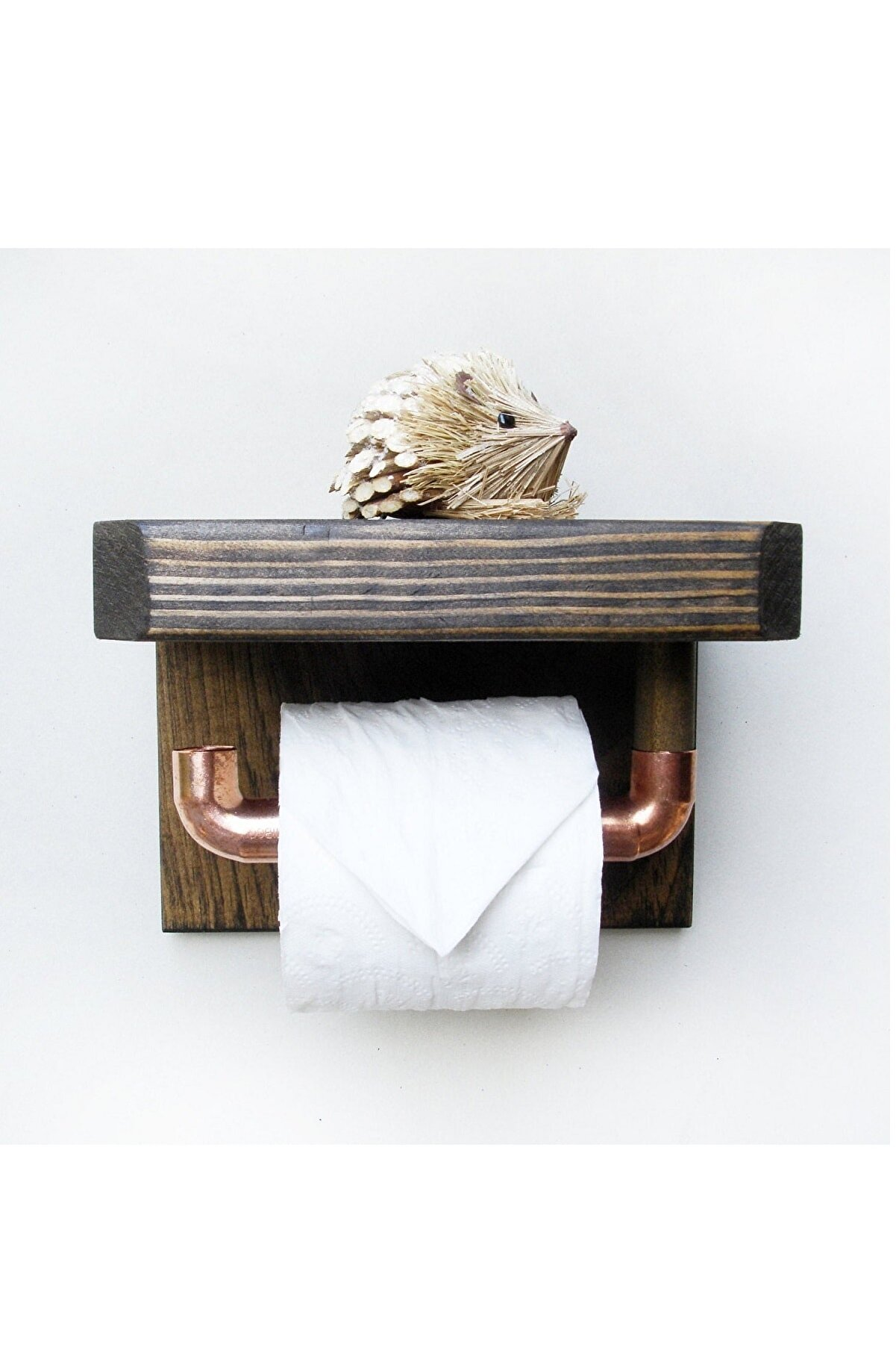 WOODENSA Ahşap Rustic Tuvalet Kağıtlığı WC