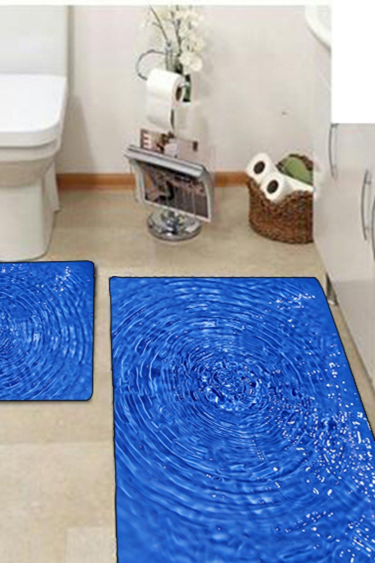 Else Halı 3 Boyutlu Deniz Klozet Takımı 2Li Banyo Paspas Seti Halısı