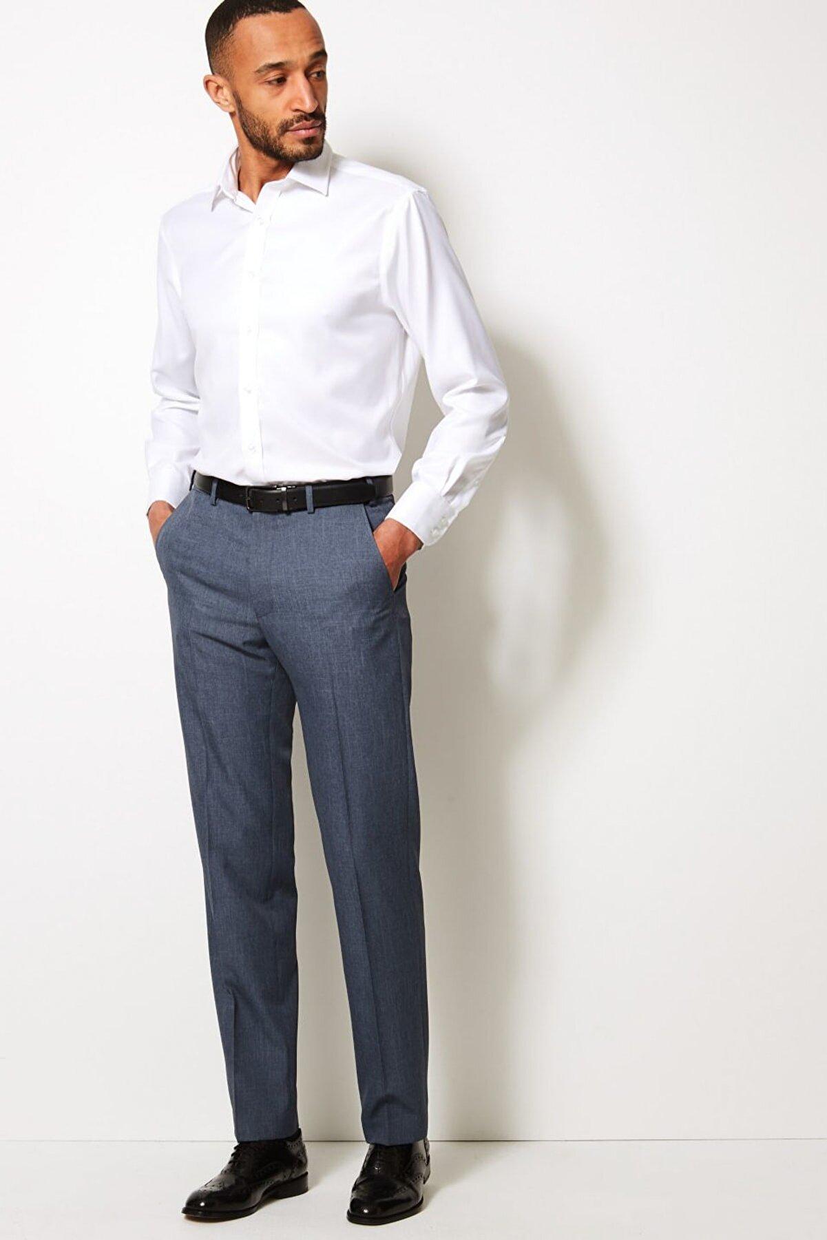 Marks & Spencer Erkek Mavi Regular Fit Pantolon T18003220M