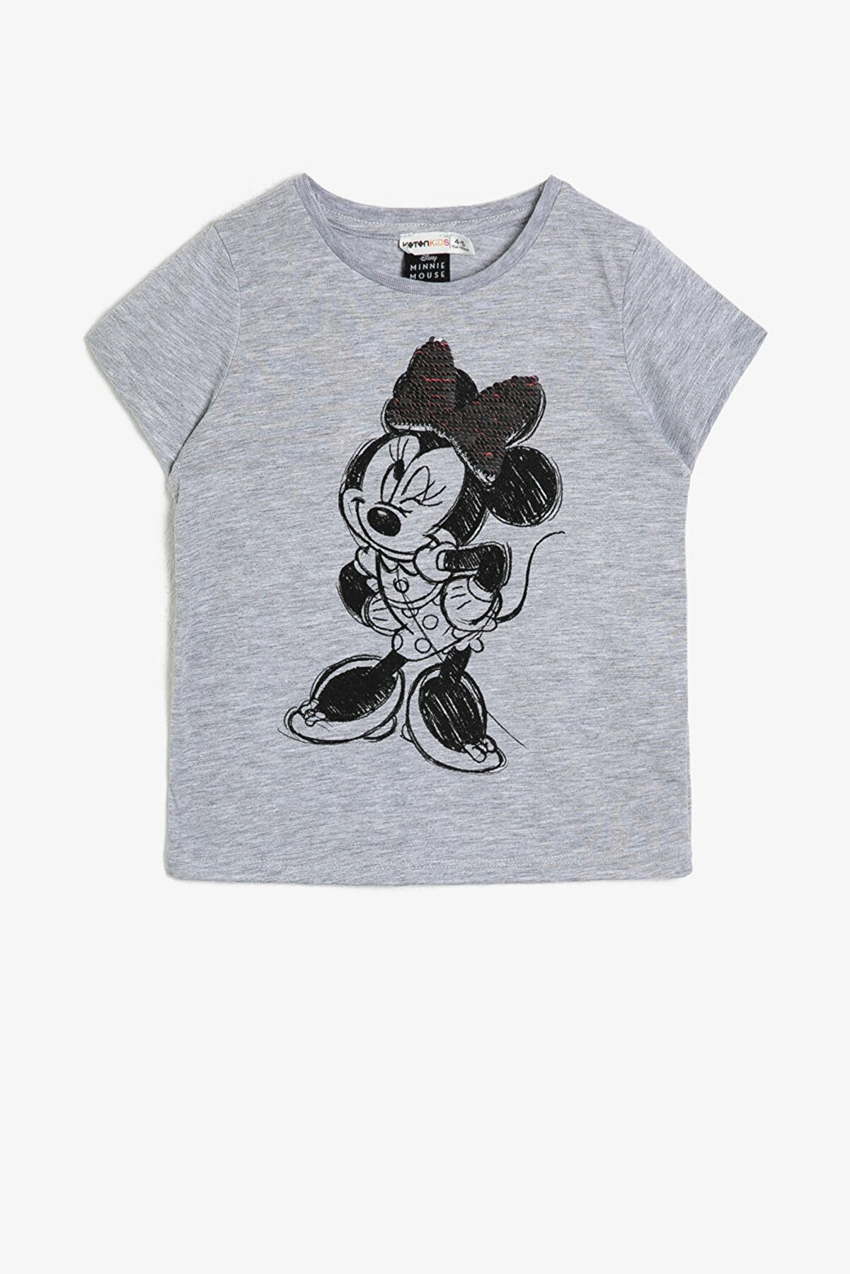 Koton Kız Çocuk Minnie Lisansli Çift Tarafli Pullu Pamuklu Yumusak Kisa Kollu T-Shirt