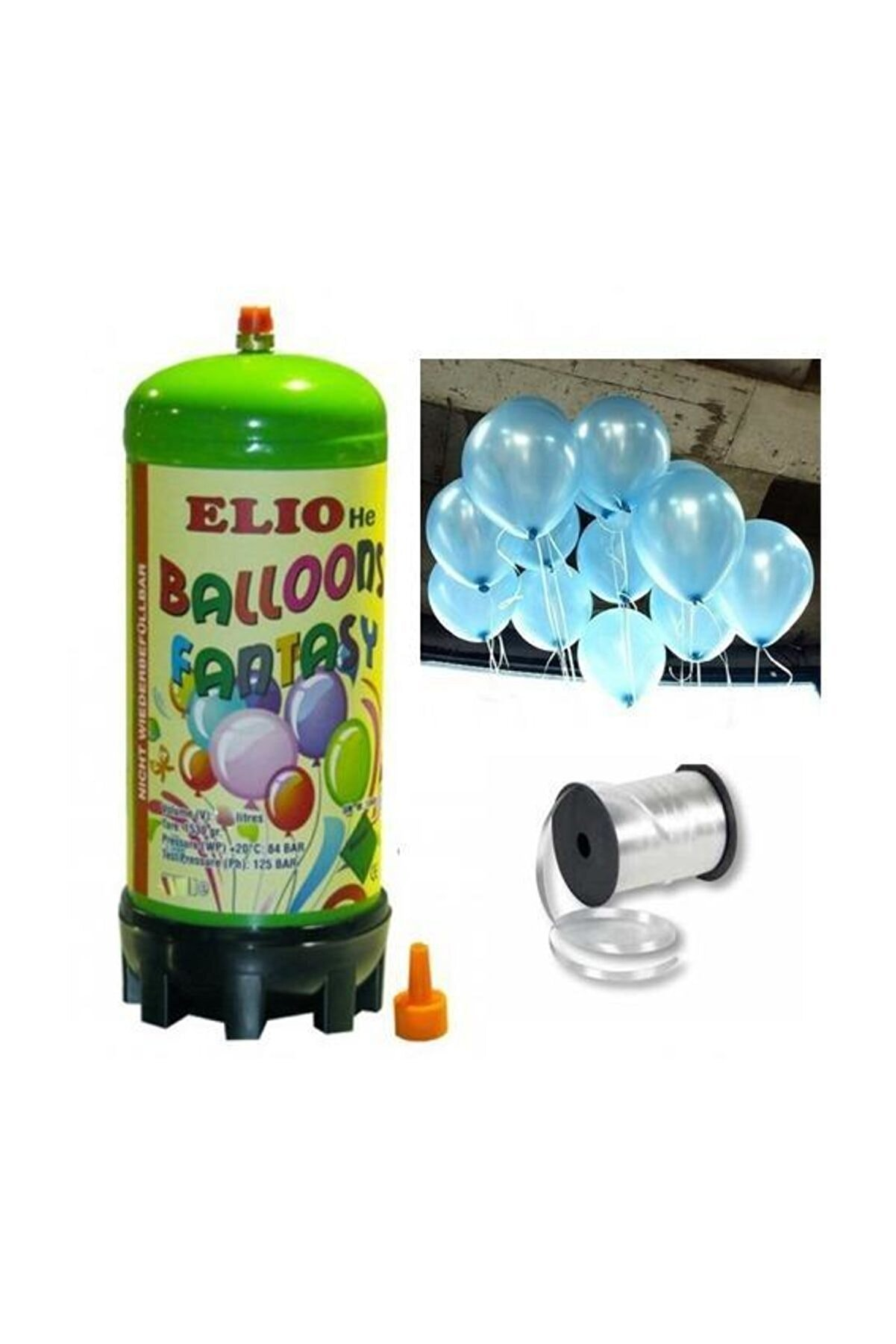 Parti Dolabı Helyum Gazı Tüp + 20 Adet Açık Mavi Metalik Uçan Balon + İpi