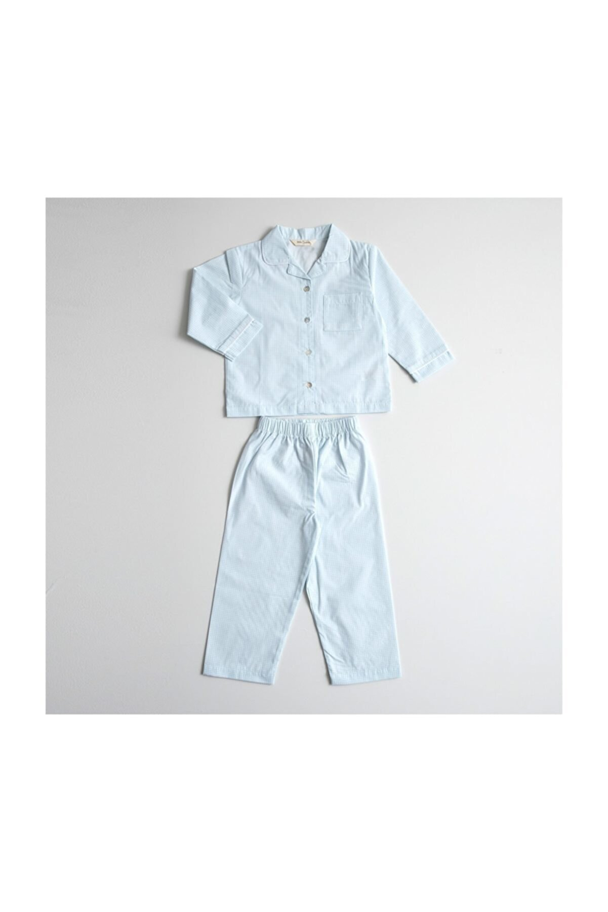 Chakra Mavi-Beyaz Artur Uzun Kollu Pijama - 5-6