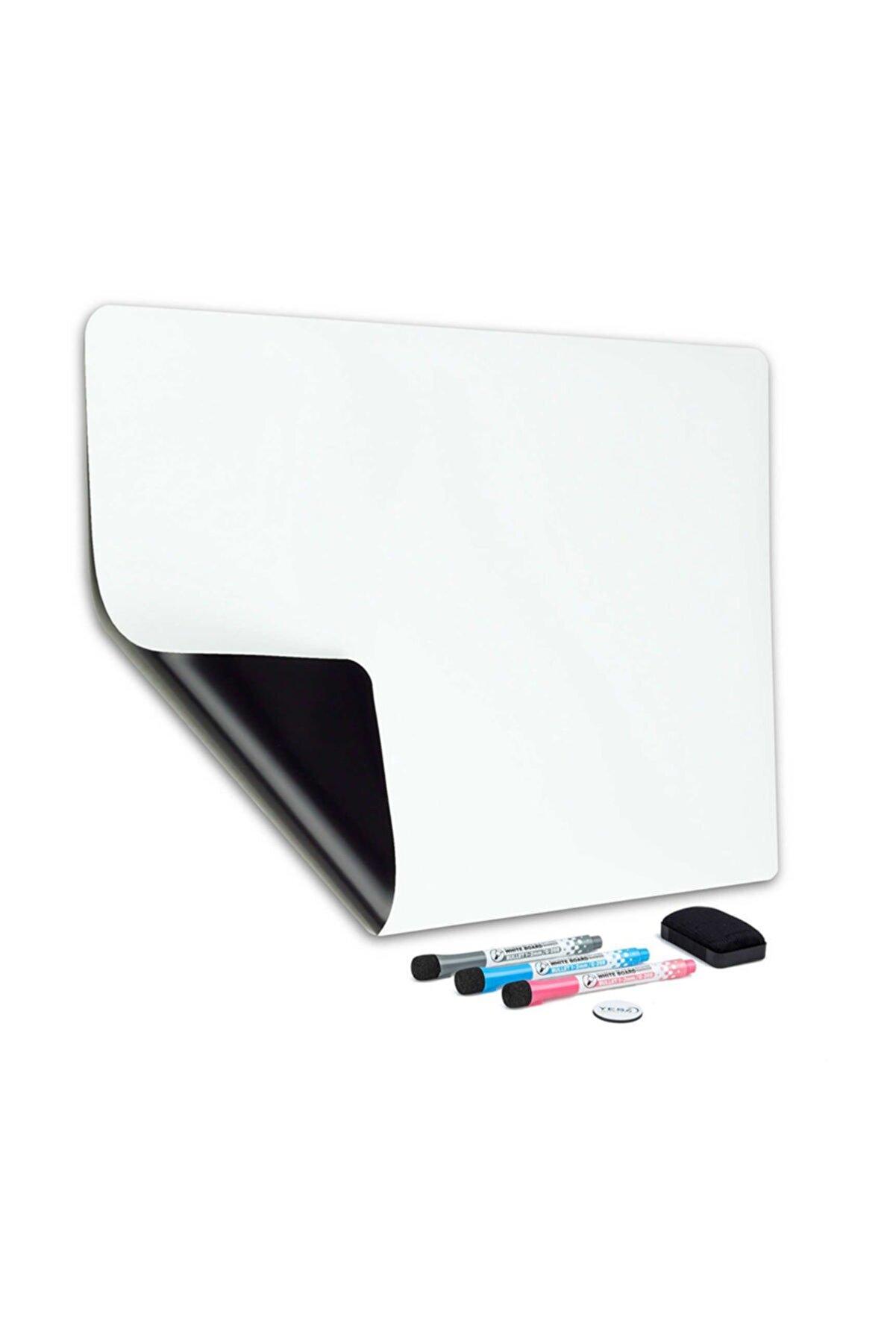 Dünya Magnet Mıknatıslı Manyetik Beyaz Tahta - 50cm x 60cm Katlanabilir Silinebilir Yazı Mesaj Tablosu + 3 Kalem