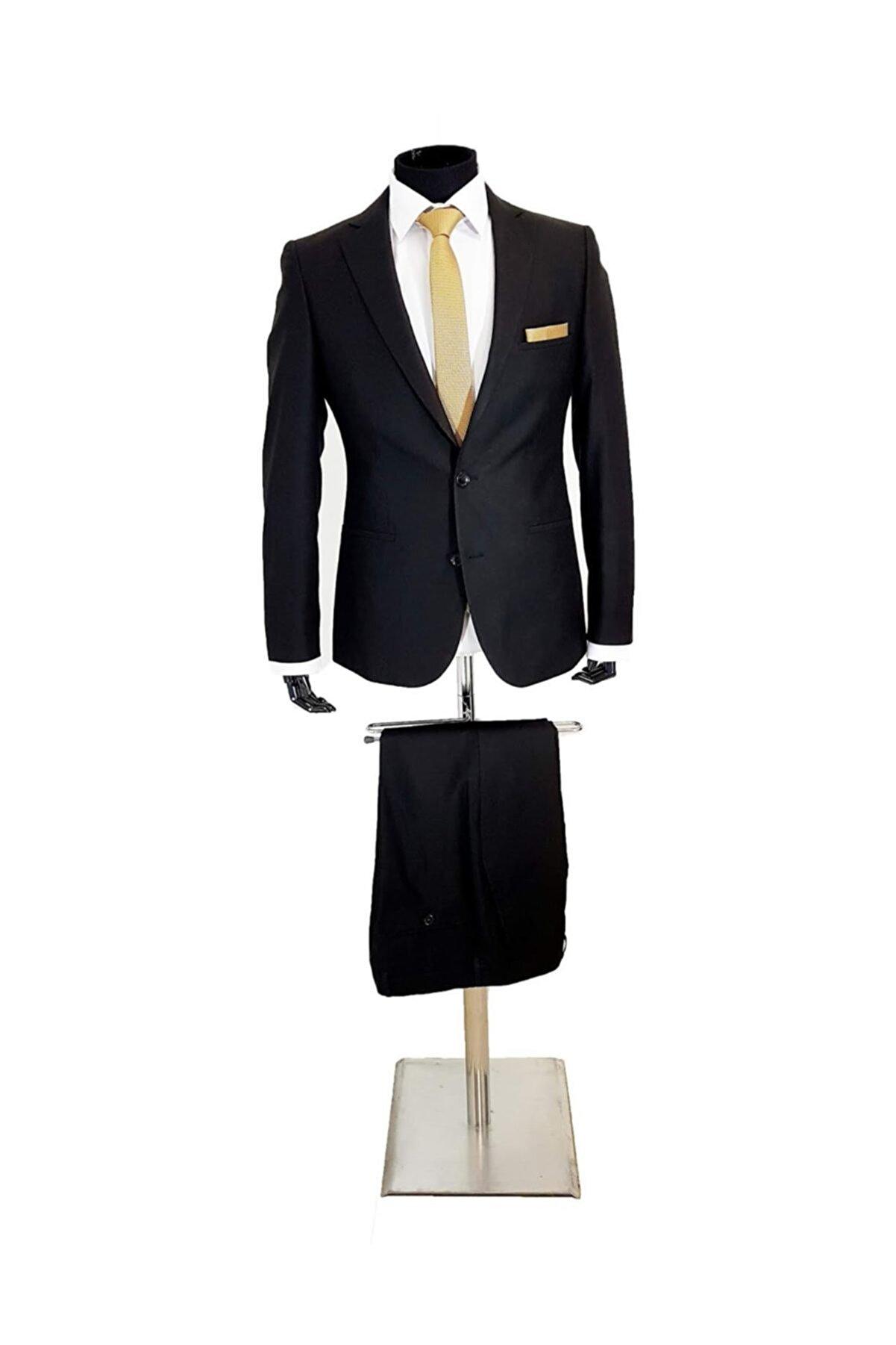 MENTOR REGALO Erkek Takım Elbise Siyah Slim Fit 41012