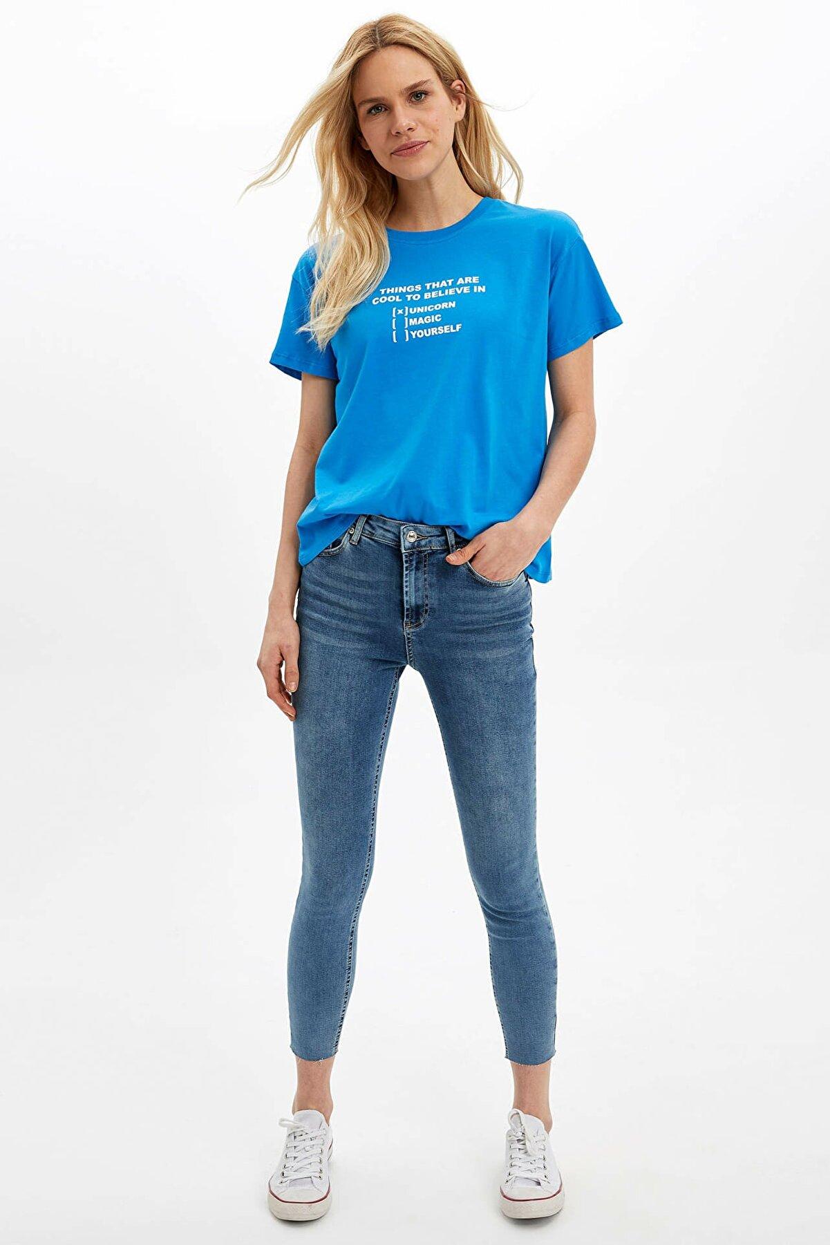 Defacto Kadın Mavi Agata - Ankle Super Skinny Jean Pantolon M8413AZ.20SP.NM39