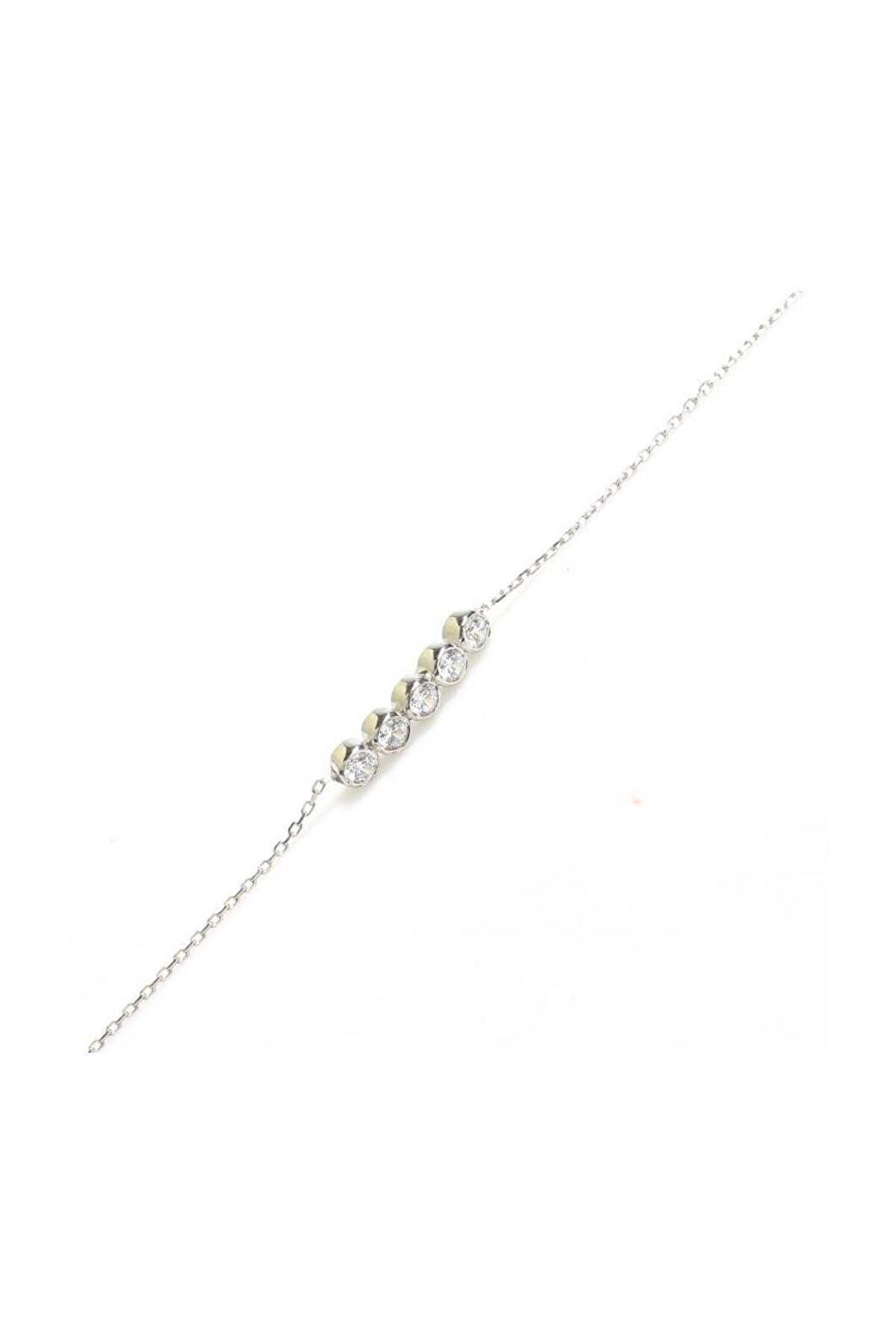 Nusret Takı 925 Ayar Gümüş Zirkon Taşlı 5 Sıra Suyolu Bileklik