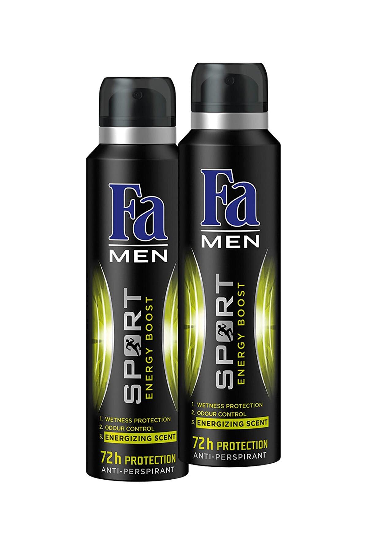 Fa Double Power Men Sport (Yeni Adıyla Sport Energy Boost) Deo Spray 150 ml x 2 Paket