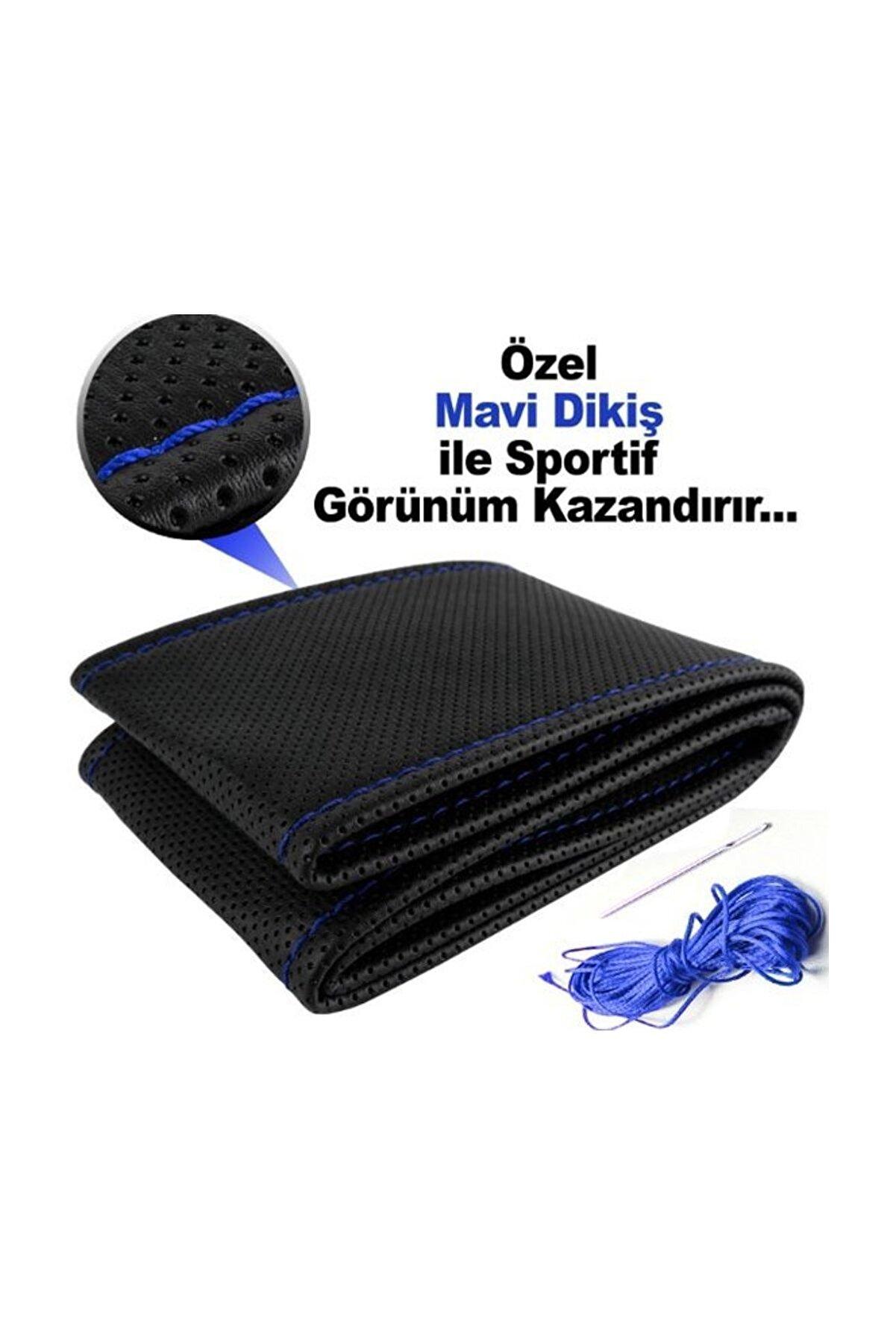 AutoEN Bmw M Serisi Deri Direksiyon Kılıfı Sarmalı Dikmeli Siyah Mavi Dikişli Kokusuz