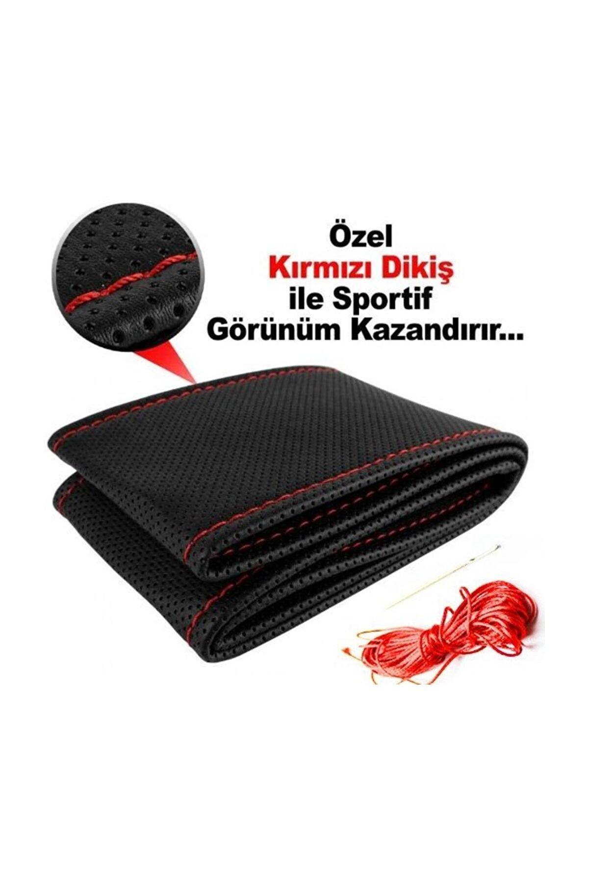 AutoEN Tofaş Doğan / Şahin Deri Direksiyon Kılıfı Sarmalı Dikmeli Siyah Kırmızı Dikişli Kokusuz