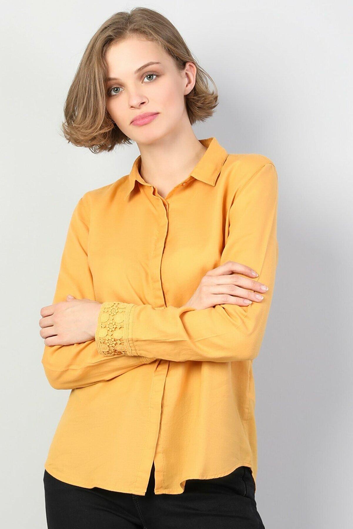 Colin's KADIN Slim Fit Shirt Neck Kadın Safran Uzun Kol Gömlek CL1048680