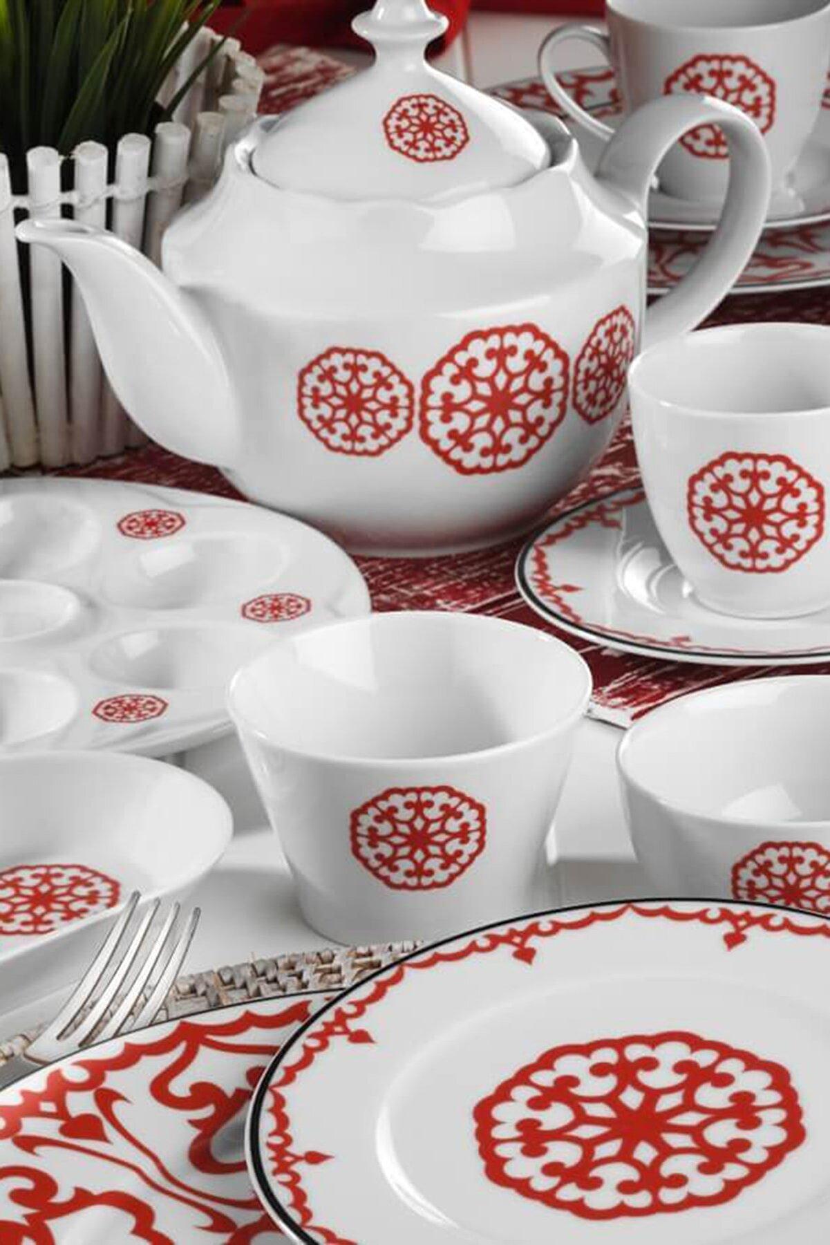 Kütahya Porselen Leonberg 41 Parça Kahvaltı Takımı 5966/Kırmızı