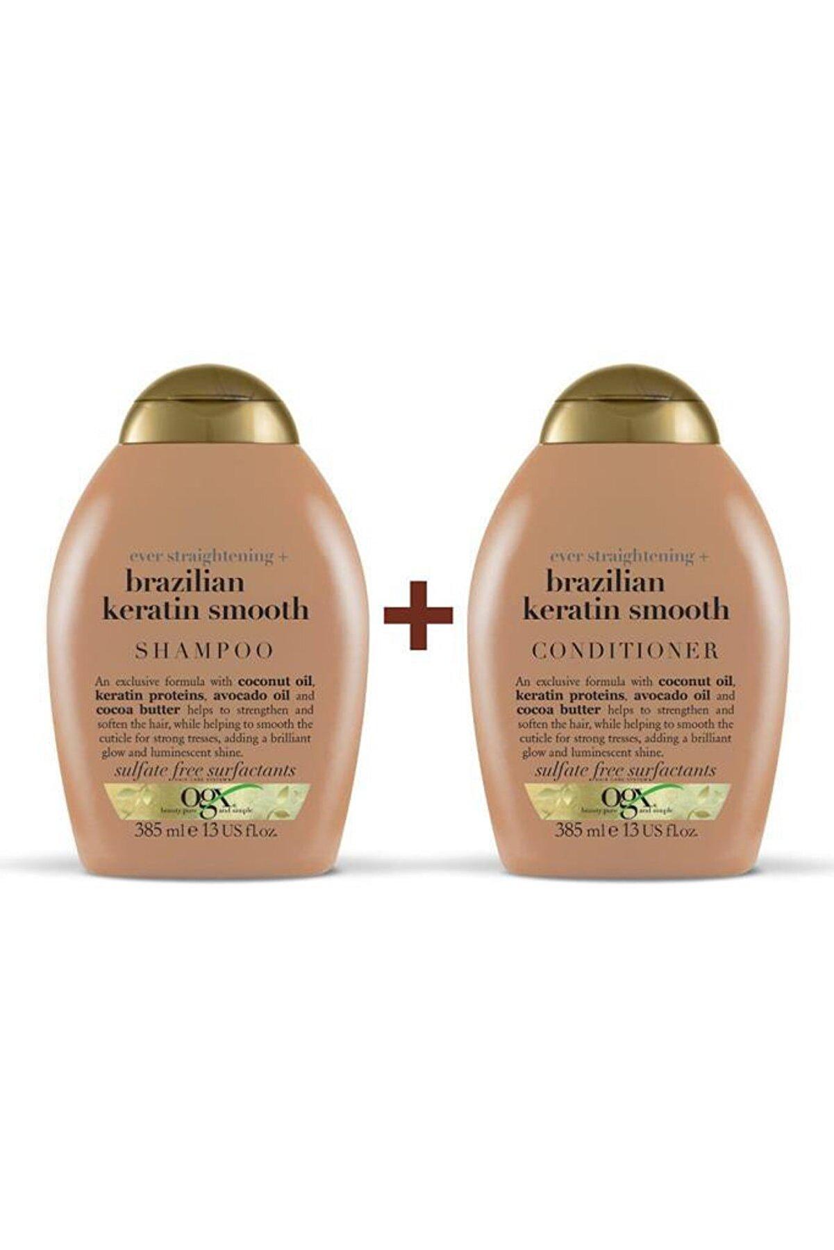 OGX Düzleştirici Brazilian Keratin Smooth Sülfatsız Şampuan+Bakım Kremi 385ml