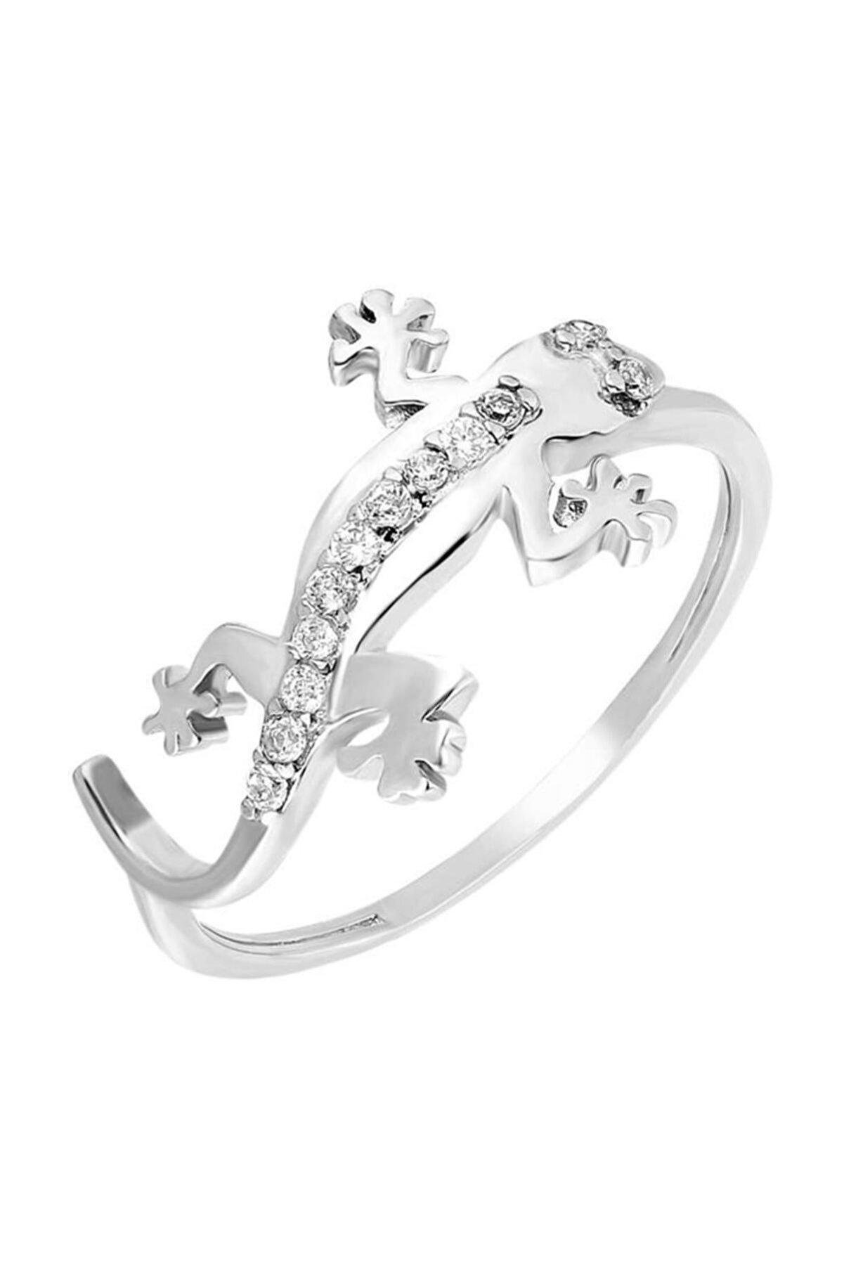 Tesbihane Zirkon Taşlı Kertenkele Tasarım 925 Ayar Gümüş Bayan Yüzük