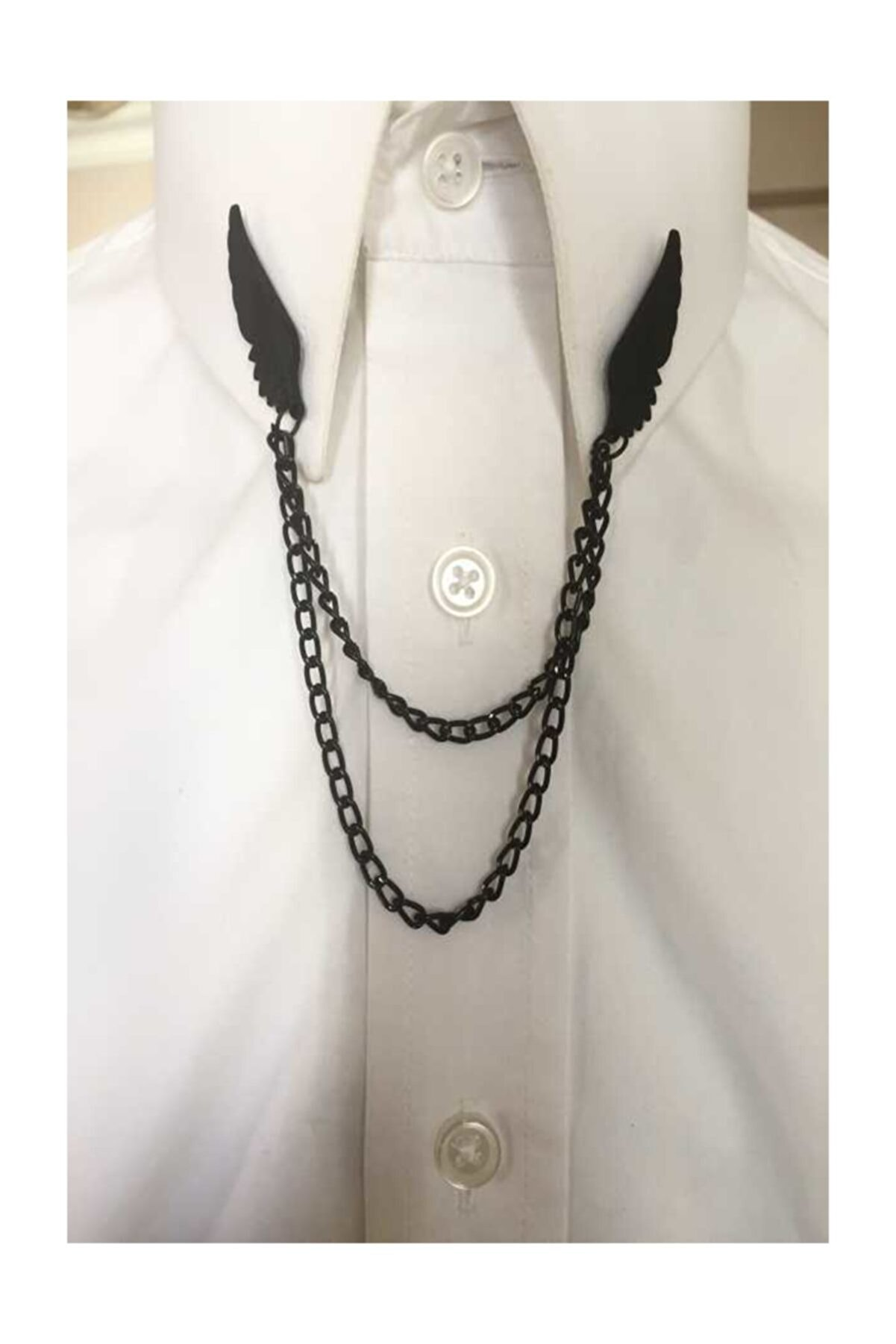 Kravatistan Kanat Gömlek Yaka Iğnesi Siyah