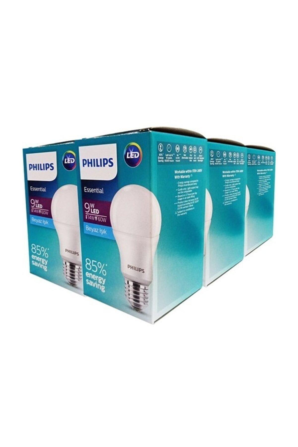 Philips 12 Adet  Ess Ledbulb 9=60w 806 Lümen E27 Normal Duy 6500 Kelvin Beyaz Işık