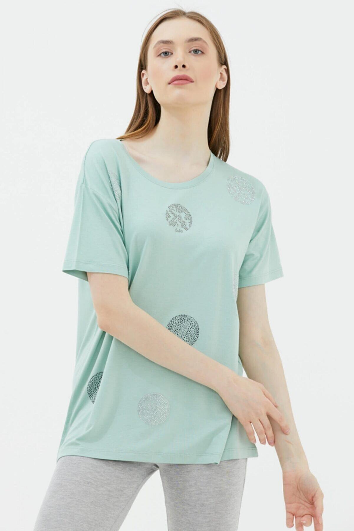 Sementa Geniş Kalıp Taş Detaylı Bluz - Yeşil