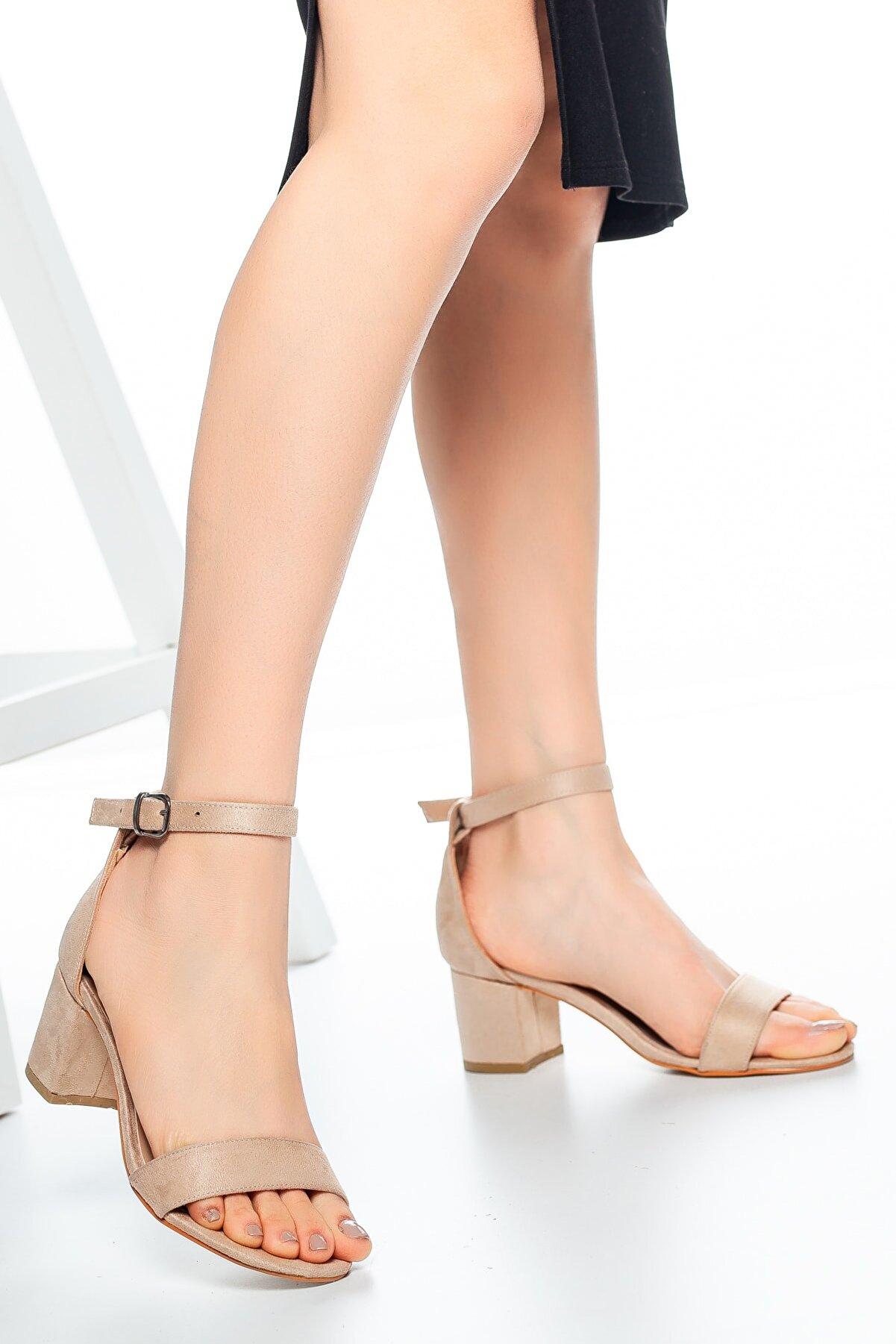 Moda Değirmeni Ten Süet Kadın Klasik Topuklu Ayakkabı Md1015-119-0001