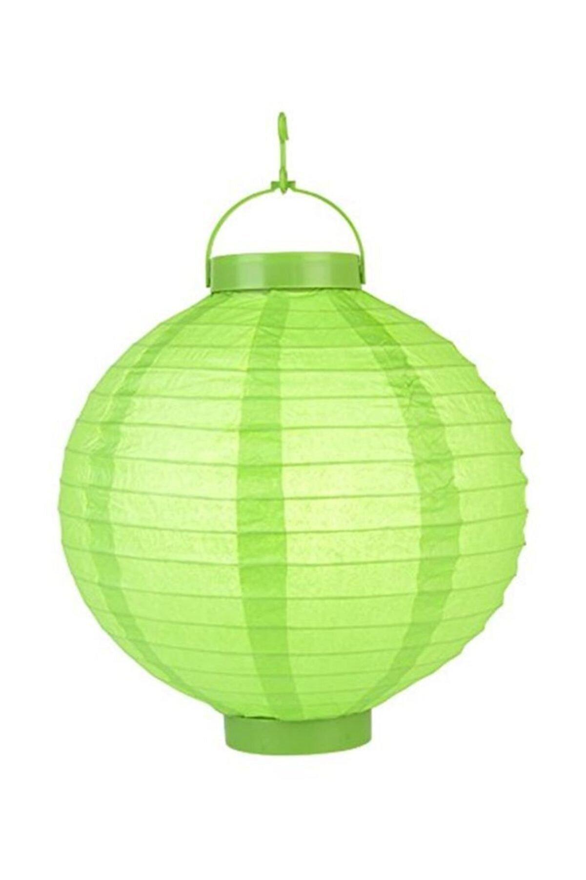 Pandoli 20 Cm Led Işıklı Kağıt Japon Feneri Yeşil Renk