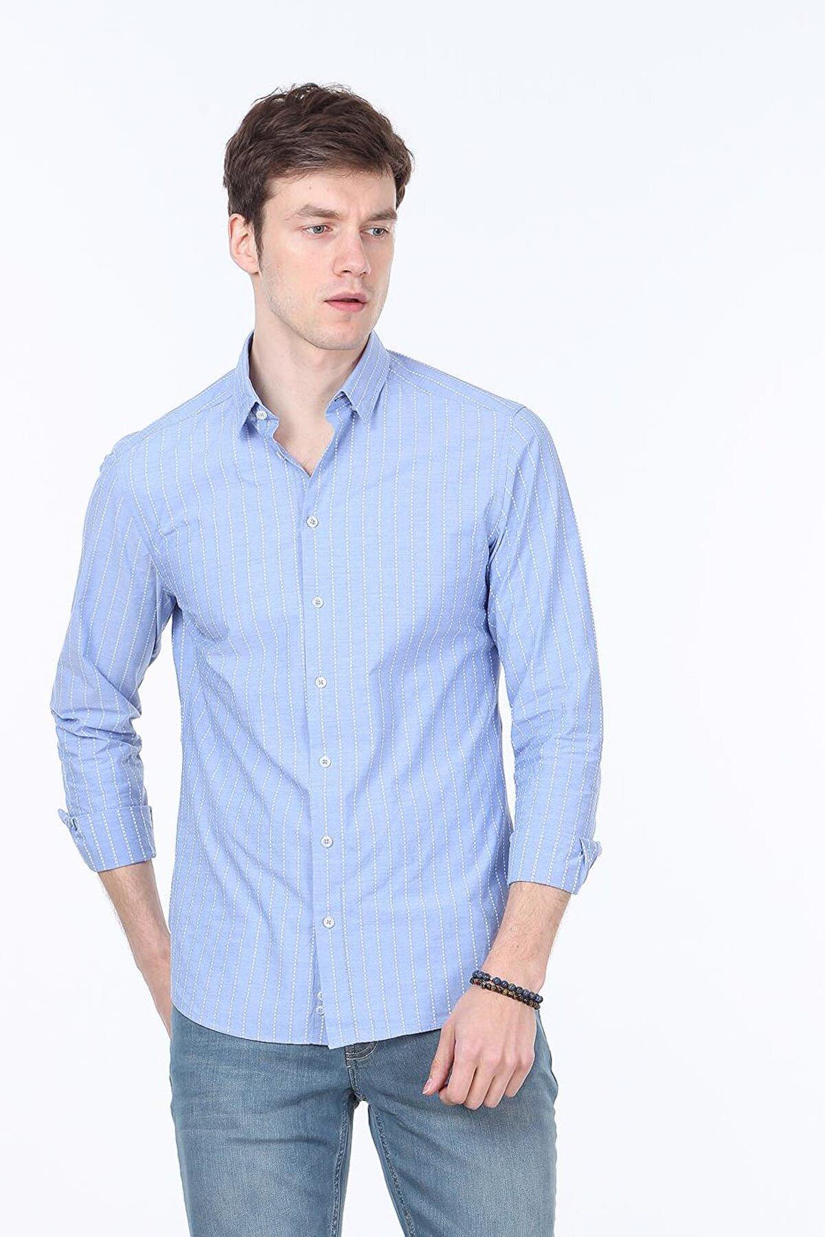 Ramsey Çizgili Dokuma Uzun Kollu Gömlek - RP10117757