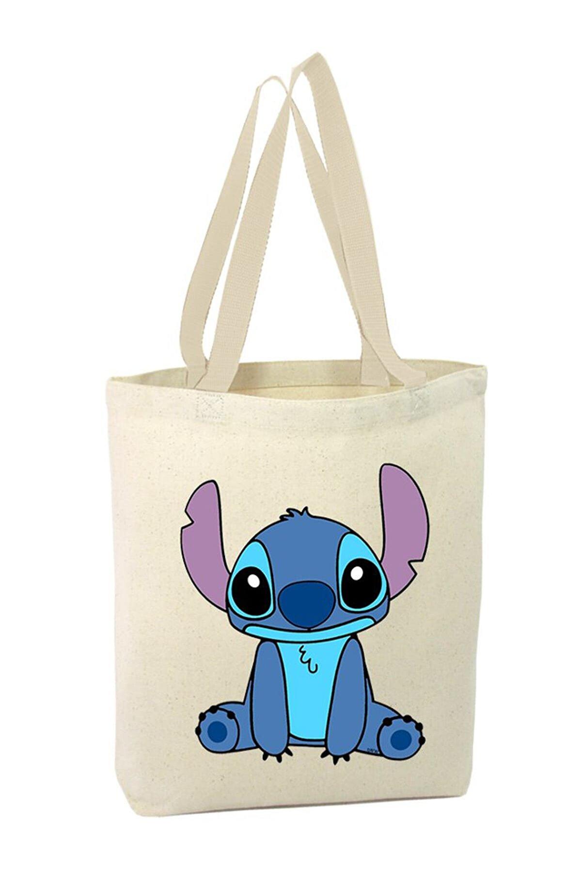 Angemiel Lilo ve Stitch Stitch Baskılı Alışveriş Plaj Bez Çanta 3008152