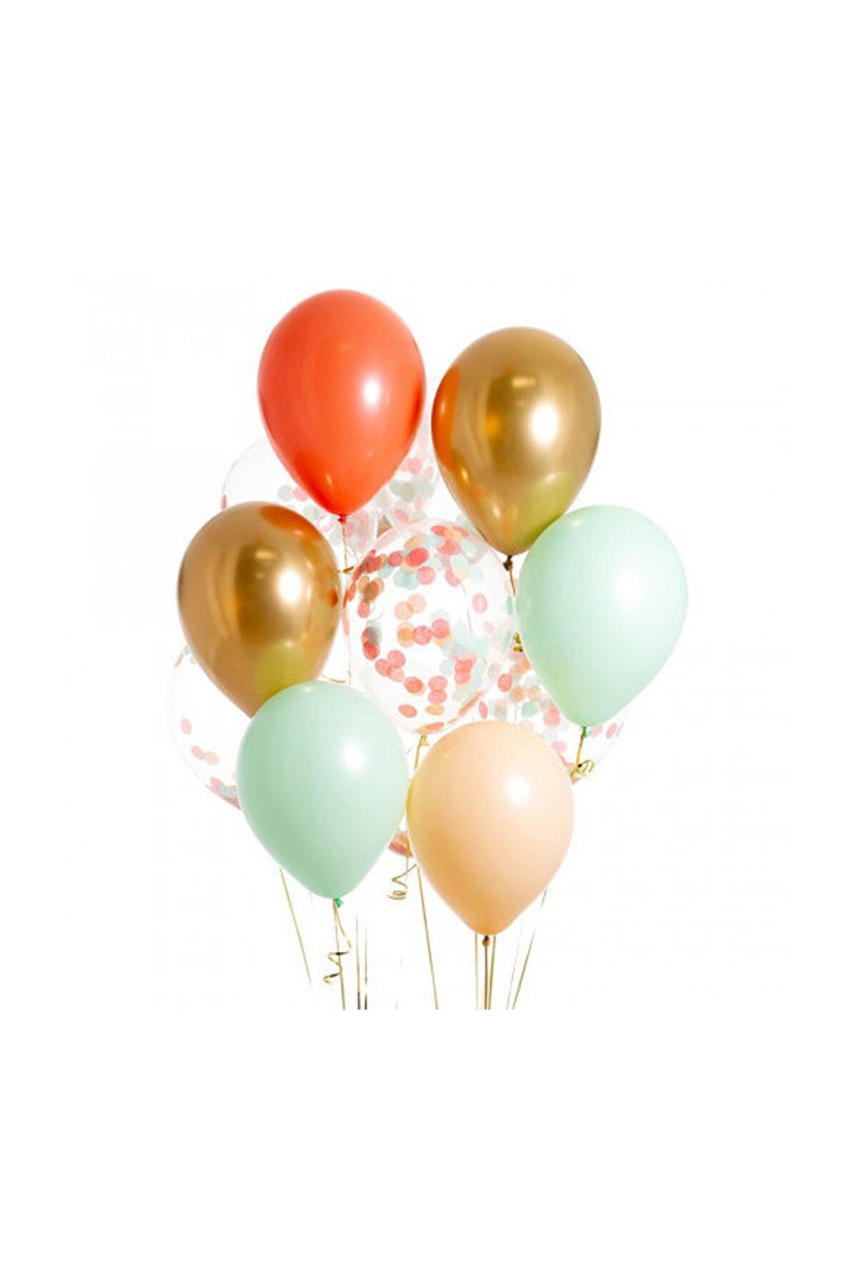 partisüs Nane Mercan Renkleri Konfetili Balon