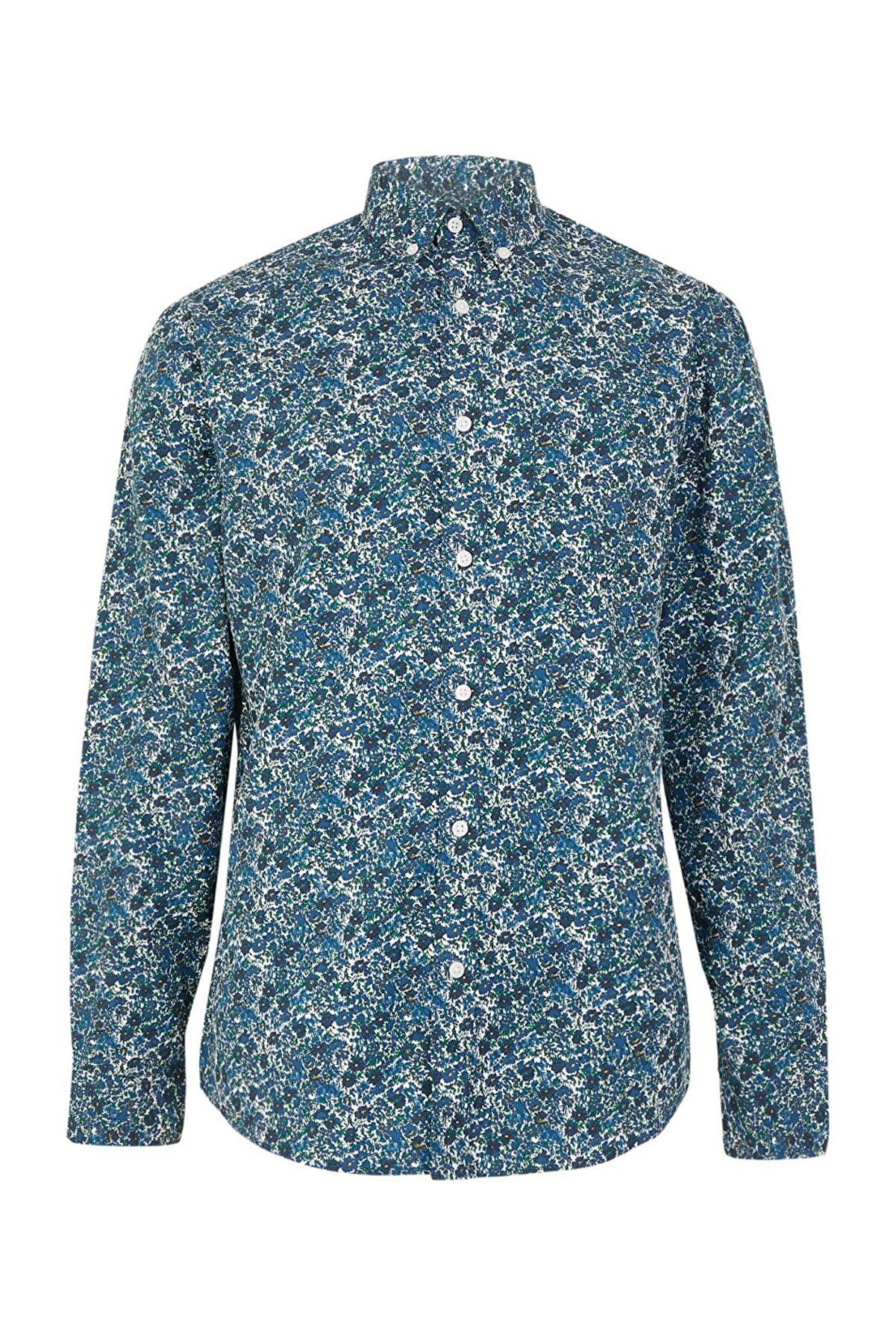 Marks & Spencer Erkek Blue Mix Pamuklu Çiçek Desenli Relaxed Gömlek T25002882M