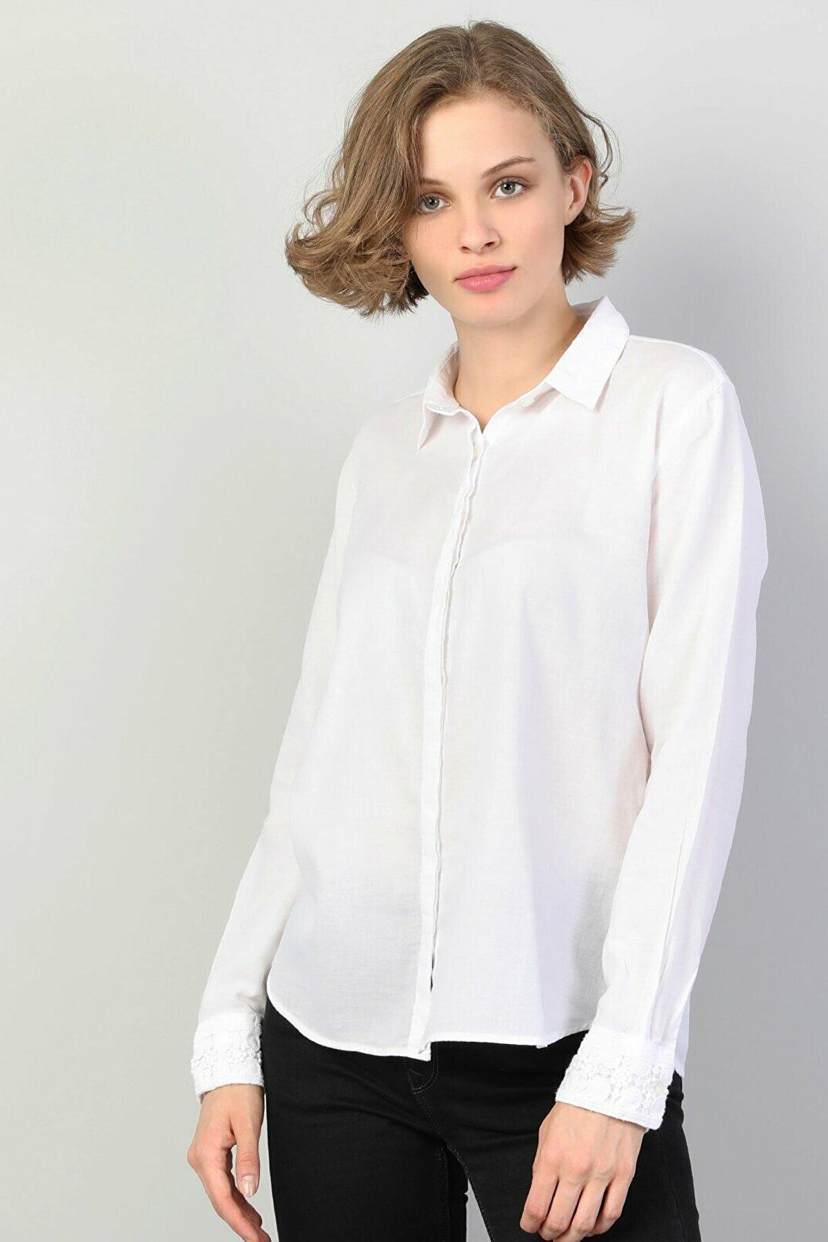 Colin's KADIN Slim Fit Shirt Neck Kadın Beyaz Uzun Kol Gömlek CL1048680