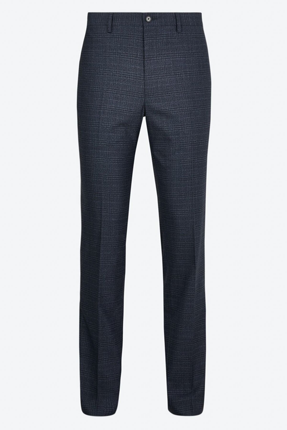 Marks & Spencer Erkek Mavi Slim Fit Streç Ekose Pantolon T18004240F