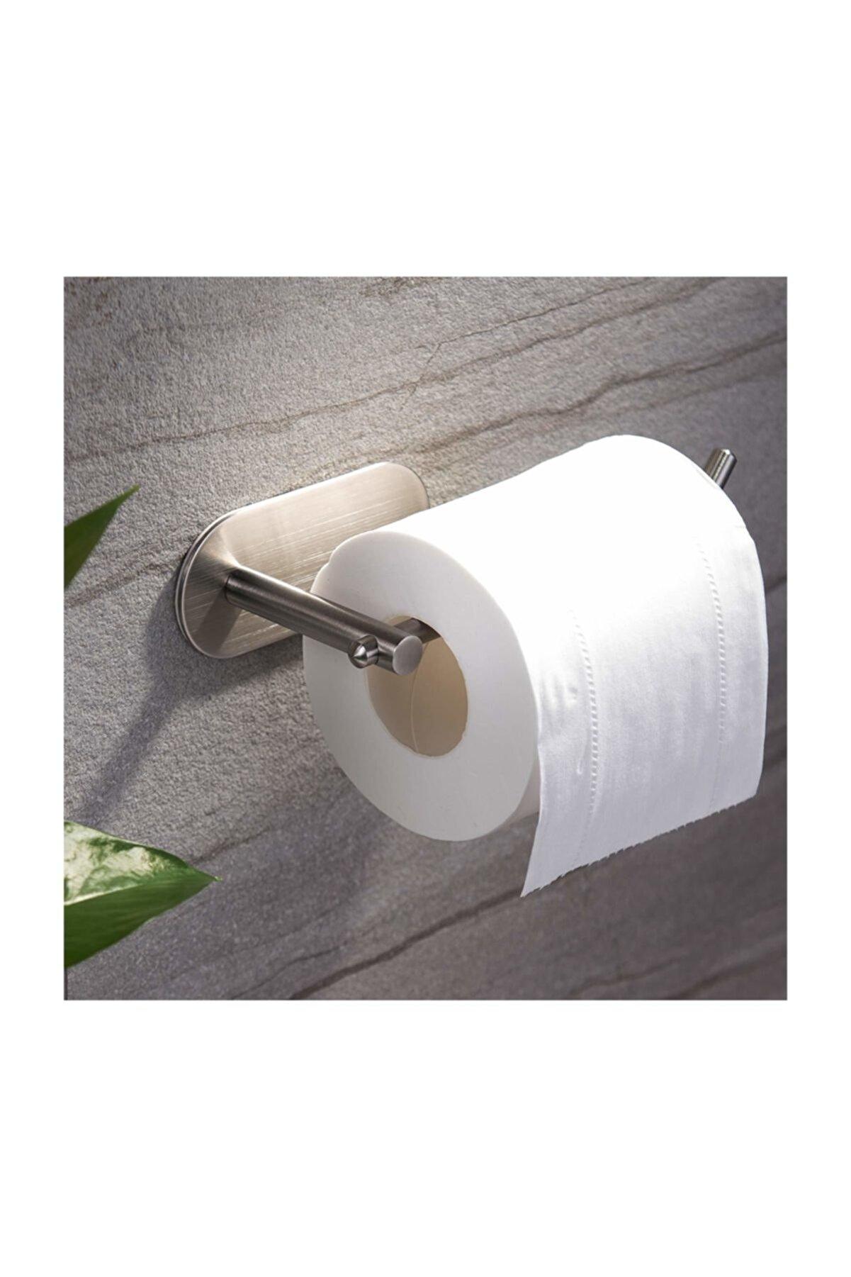 DELTAHOME Paslanmaz Çelik Tuvalet Kağıtlığı - Wc Kağıtlık Aparatı - Yapışkanlı Sistem - Model: Hamburg