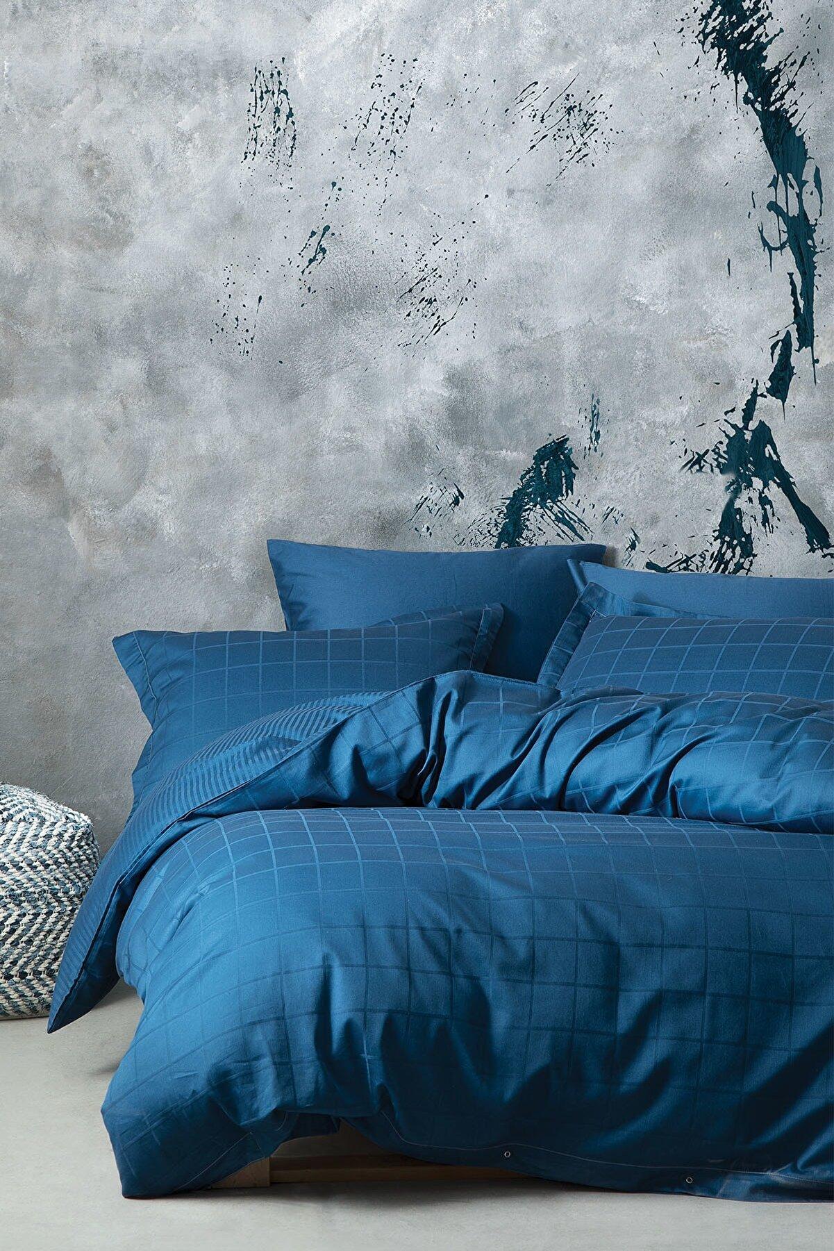 Yataş Destra Çift Kişilik Saten Nevresim Takımı-Koyu Mavi