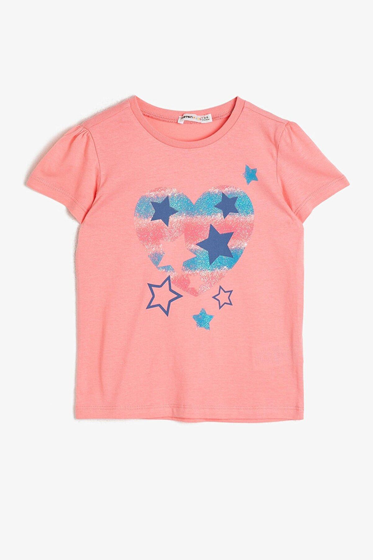 Koton Kız Çocuk Mercan Baskılı T-Shirt