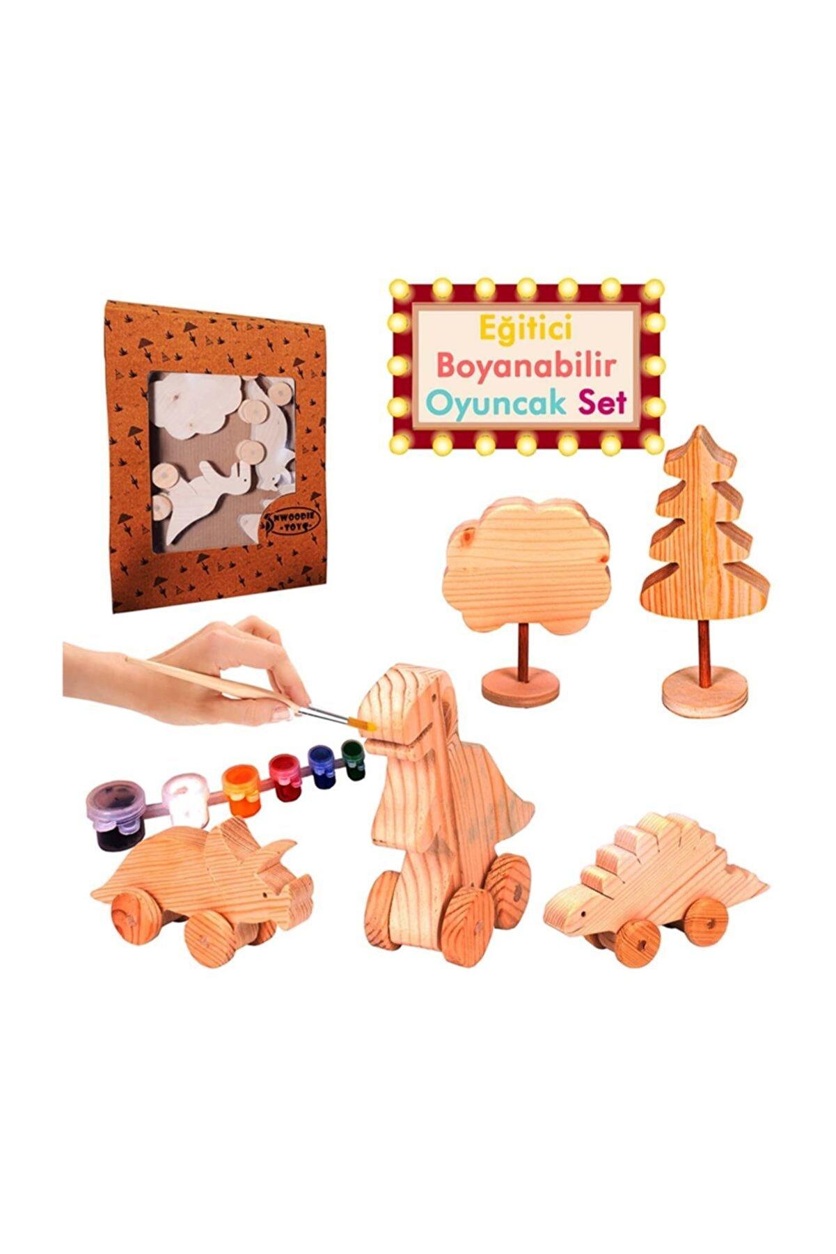 Patladı Gitti Eğitici Ahşap Oyuncak El Yapımı Boyanabilir Dinozor Seti
