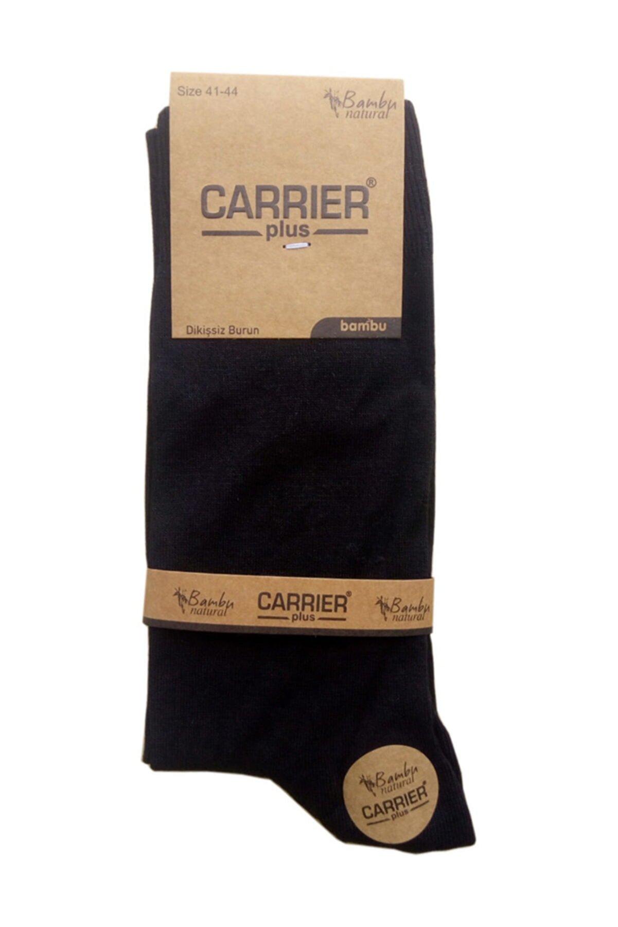 Carrier Plus 12 Çift Bambu Dikişsiz Erkek Çorap - Ince Yazlık - Siyah