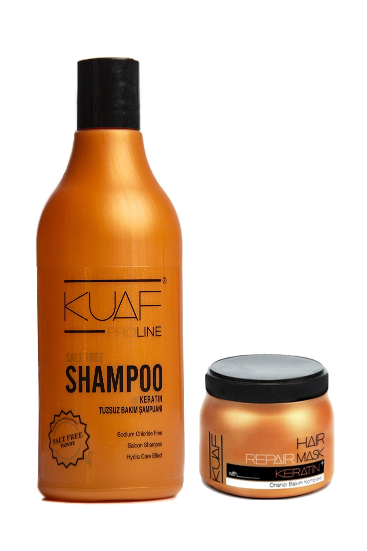 Kuaf Tuzsuz Keratin Saç Bakım Şampuan 500ml + Saç Bakım Maskesi Keratin 250ml