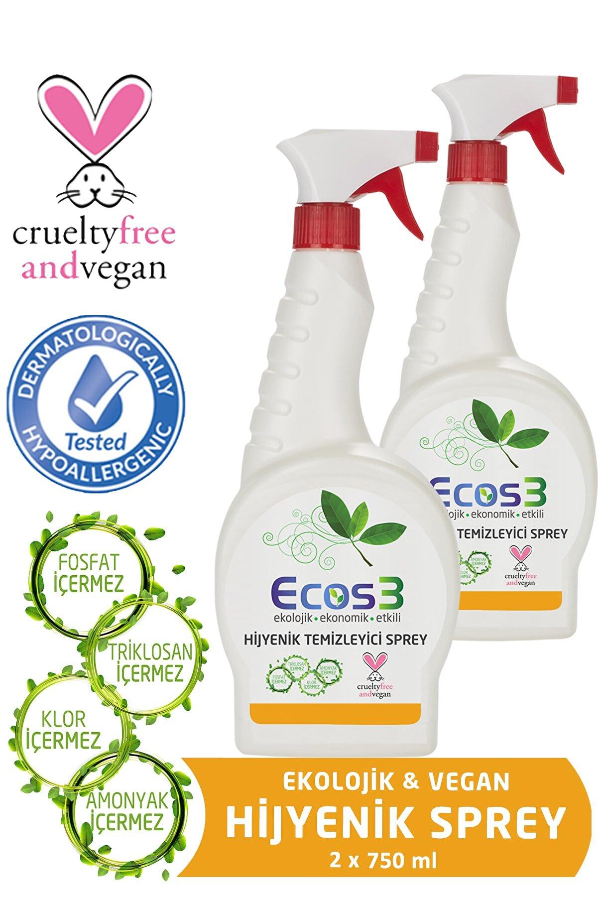 Ecos3 Ekolojik Hijyenik Temizleyici Sprey 750 ml x 2