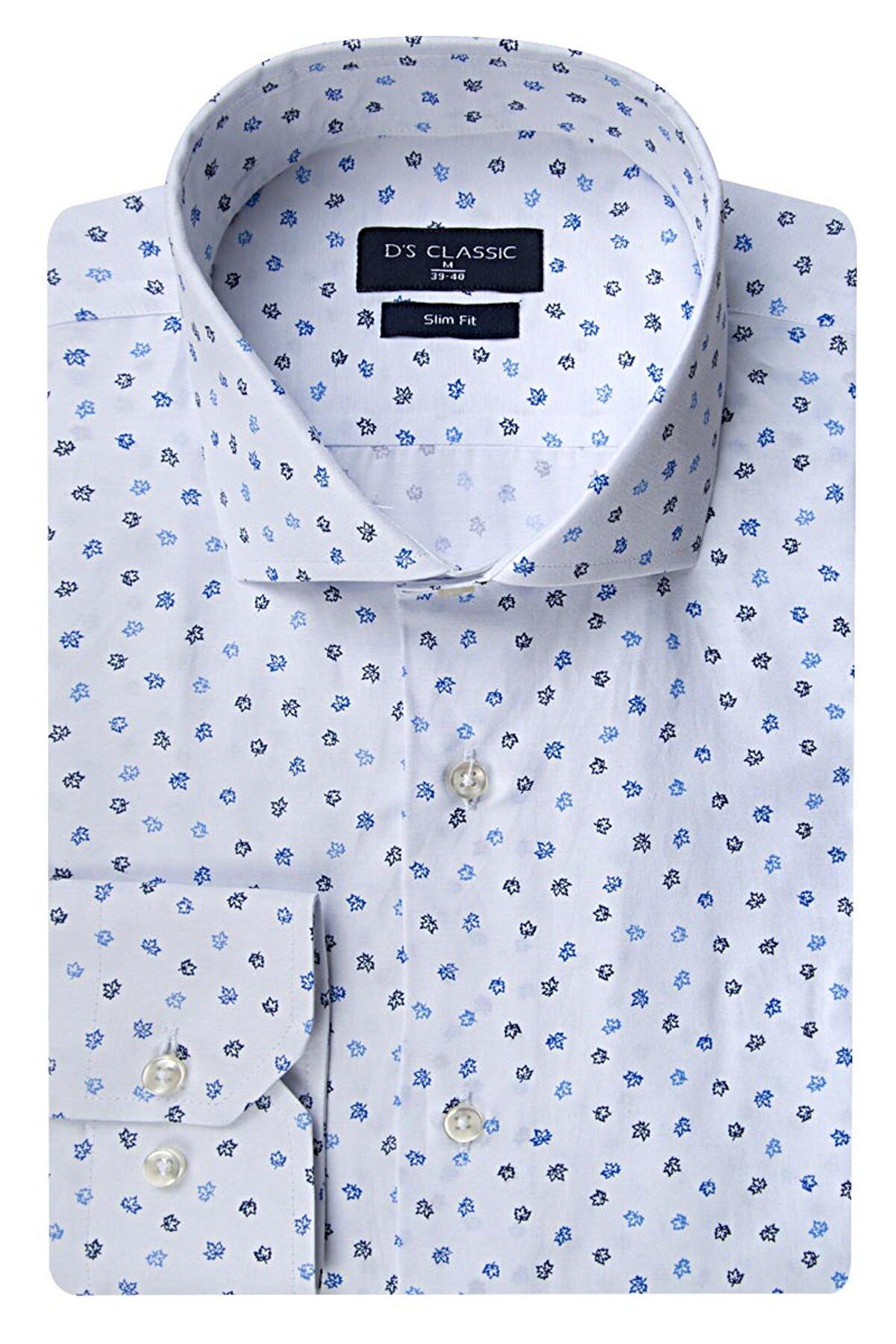 D'S Damat Beyaz Renk Erkek  Gömlek (Slim Fit)