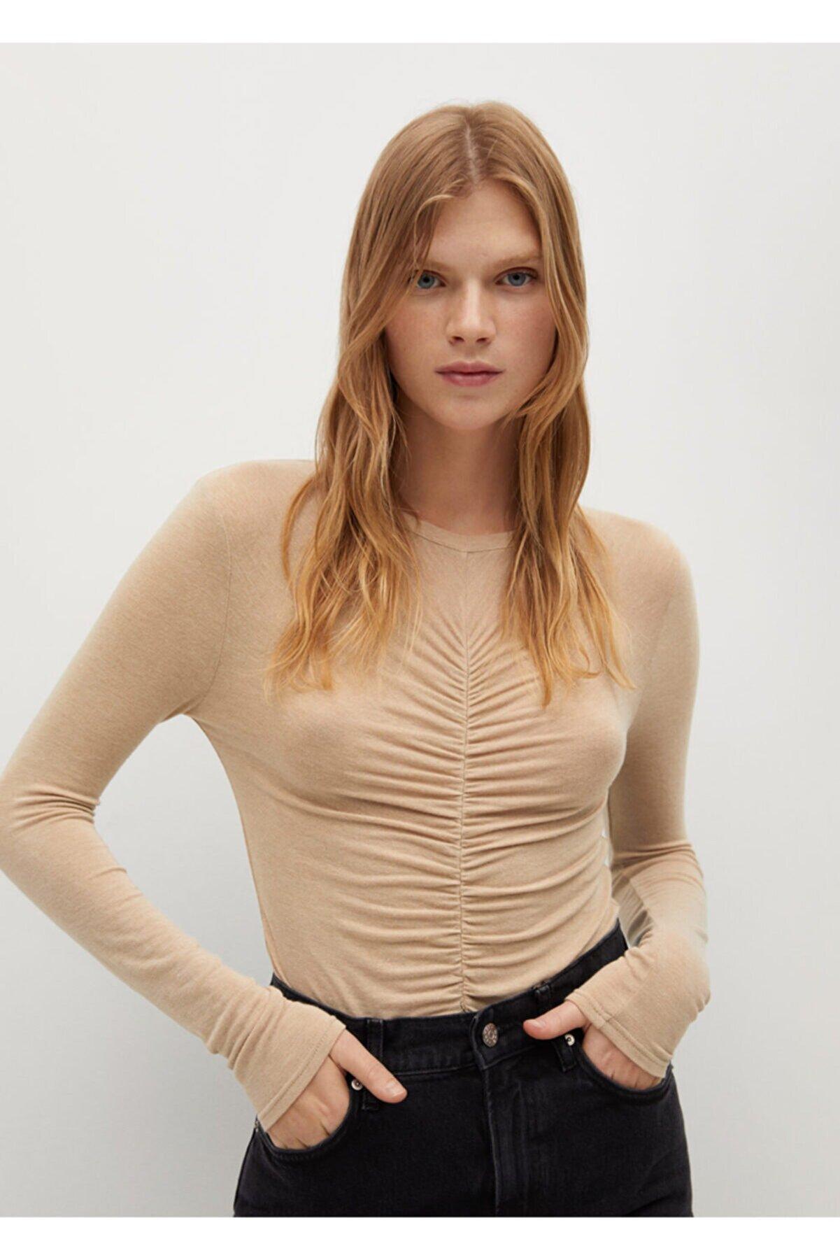 Mango Fırfırlı Uzun Kollu Tişört