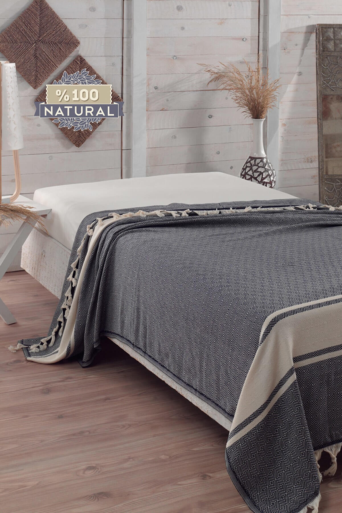 Ev & Ev Home Çift Kişilik Battal Boy Natural Yatak Örtüsü Elmas Siyah