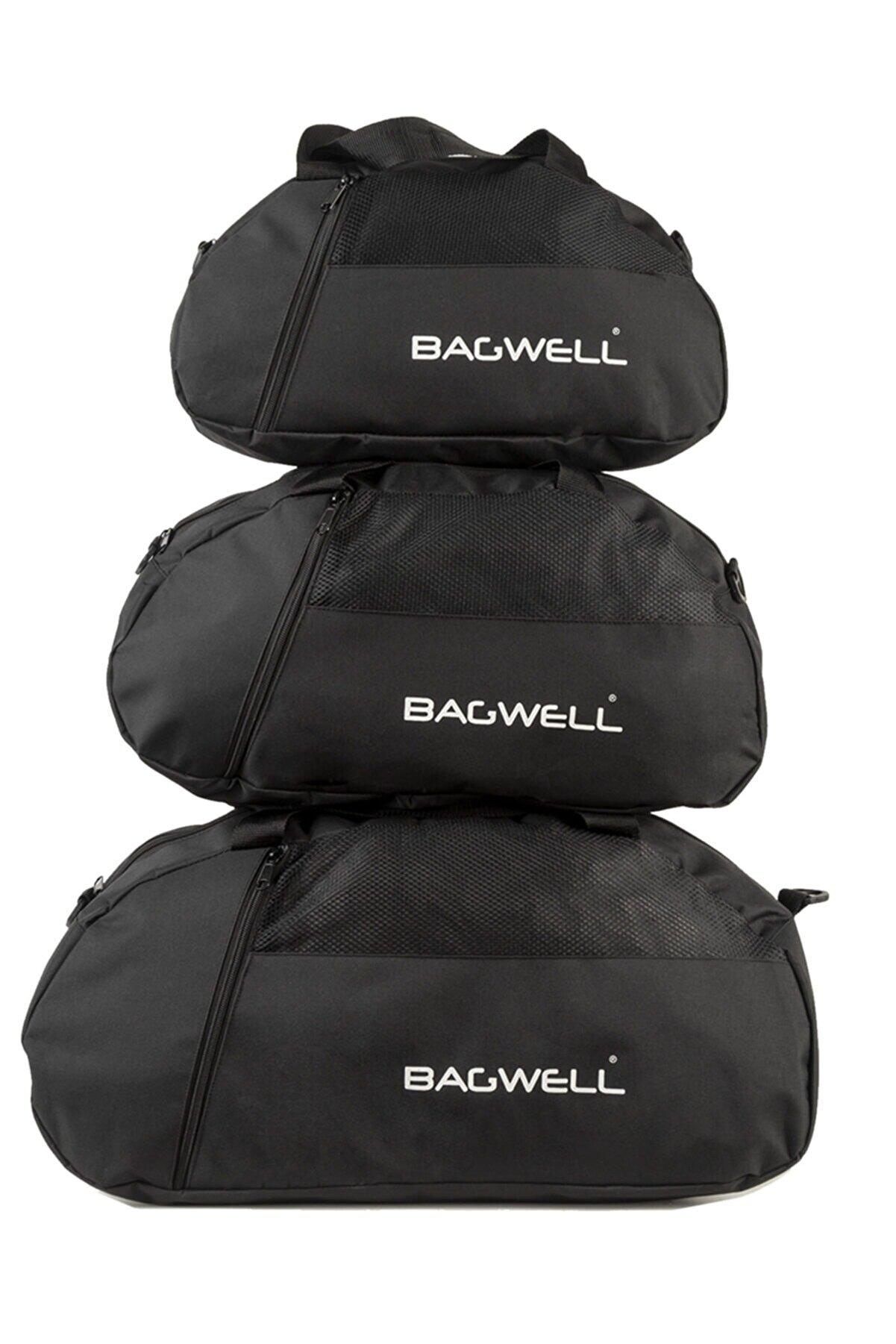 BAGWELL 3'lü Set Siyah Spor Ve Seyahat Çantası