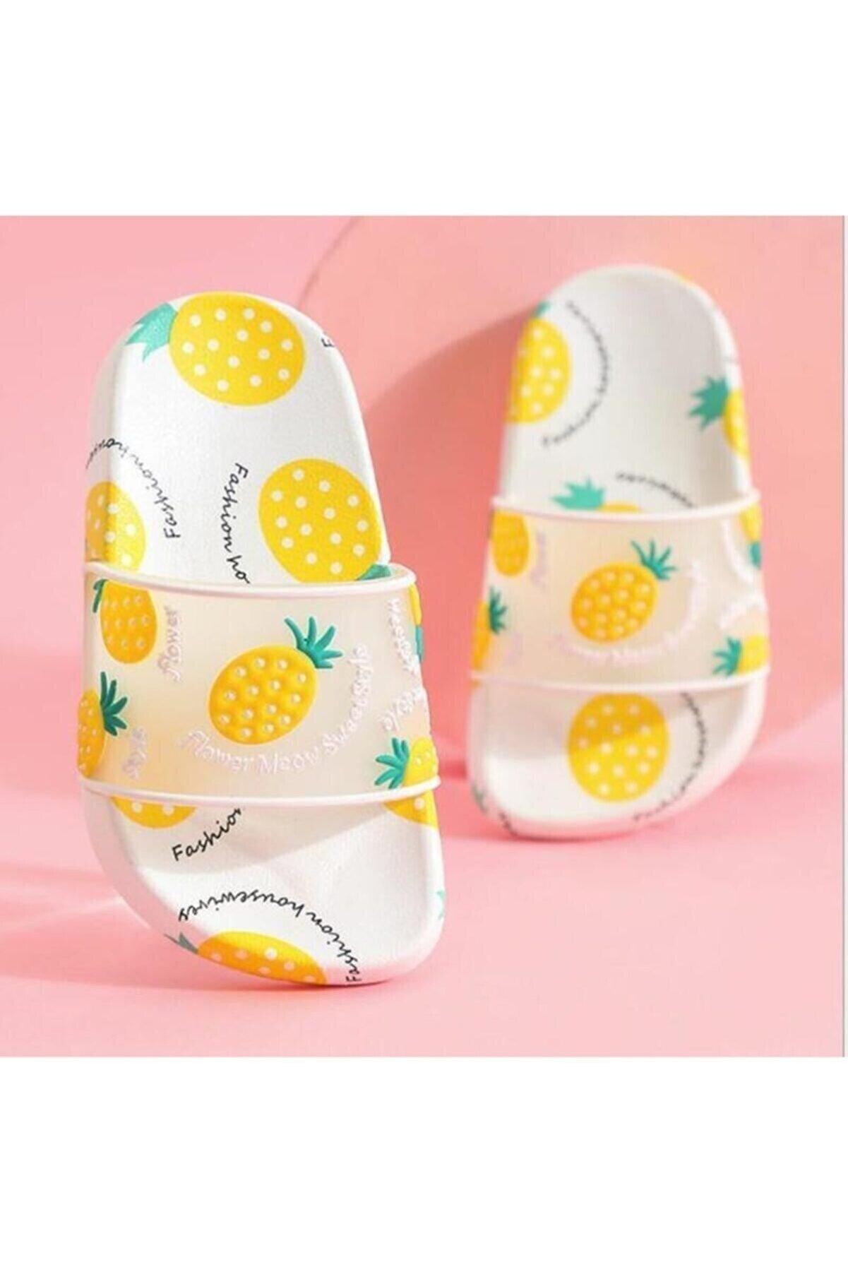 Gezer Unisex Çocuk Beyaz Ultra Soft Ananas Desen Bakılı Havuz Deniz Banyo ve Plaj Terlik Adım Adım