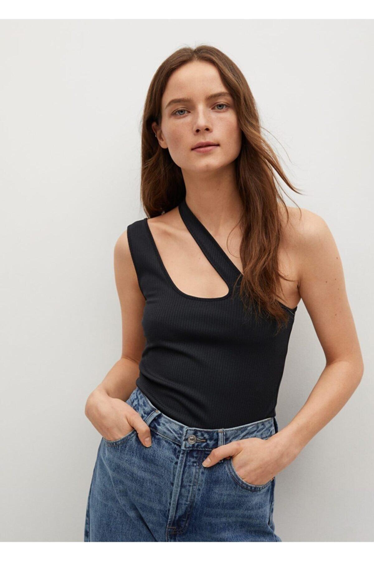 Mango Kadın Siyah Asimetrik Tasarımlı Bluz