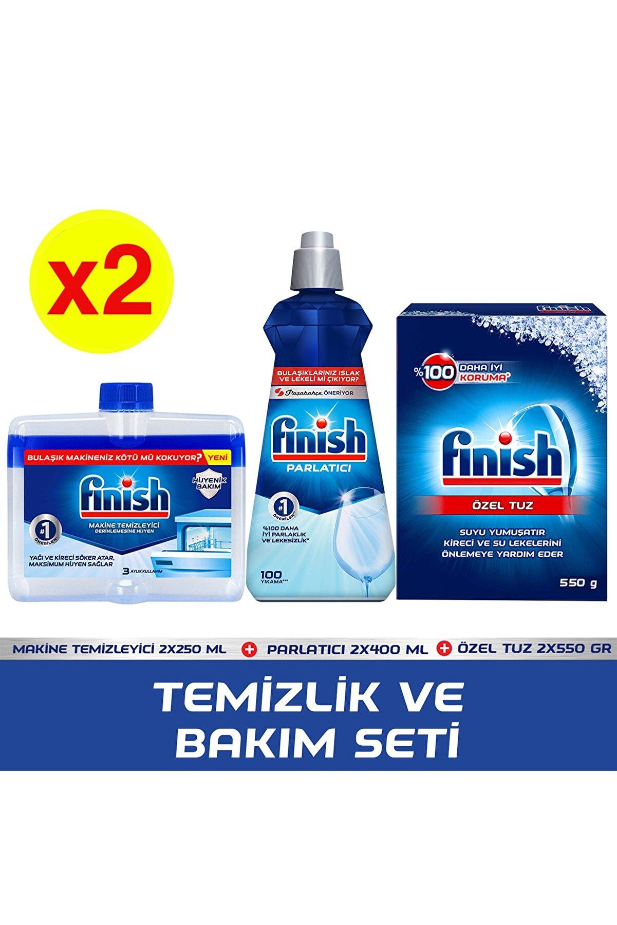 Finish Temizlik ve Bakım Seti(Parlatıcı 400 ml+Makine Temizleyici Sıvı 250 ml + Tuz 500 gr) X2 Adet