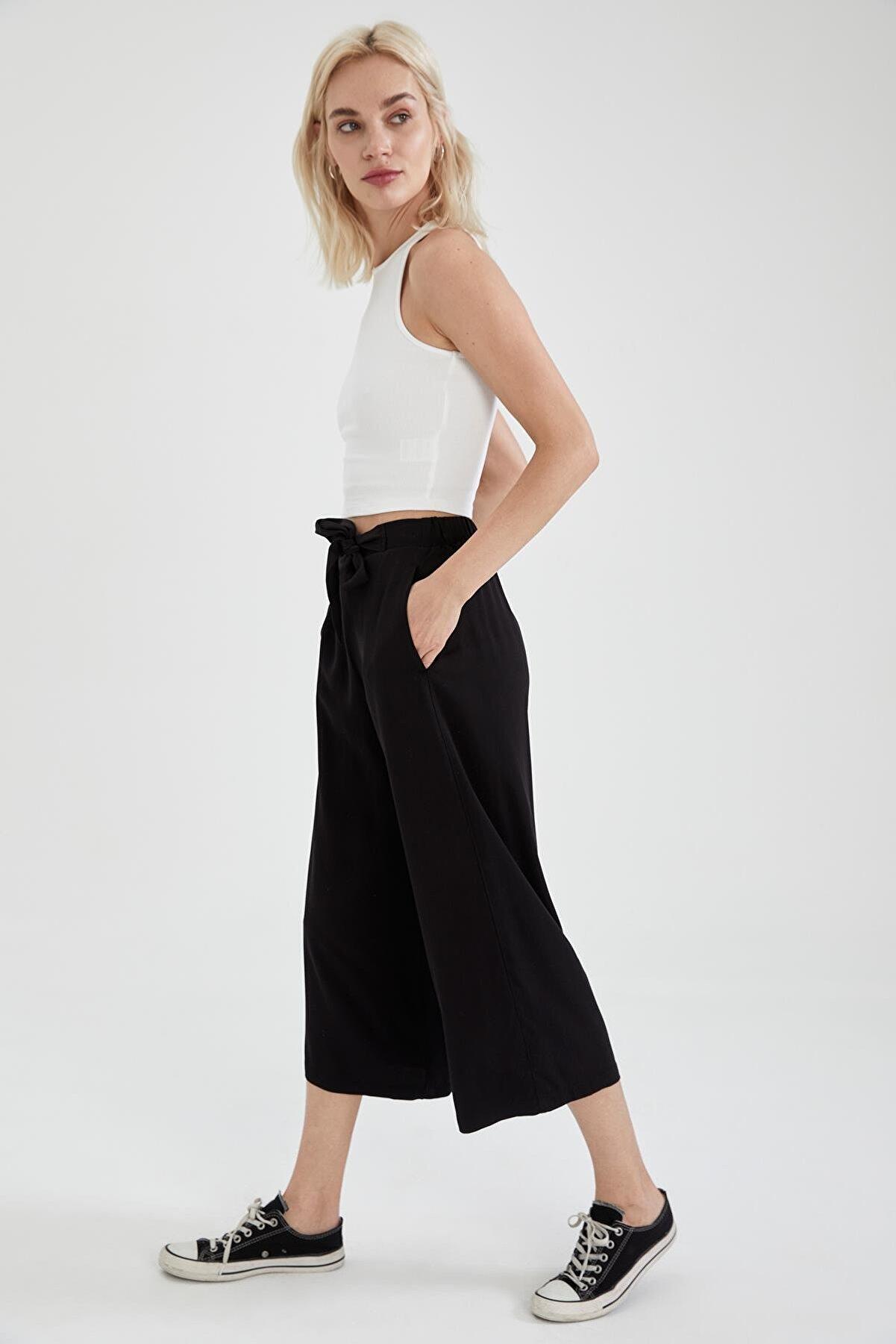 Defacto Kadın Siyah Kuşak Detaylı Pantolon