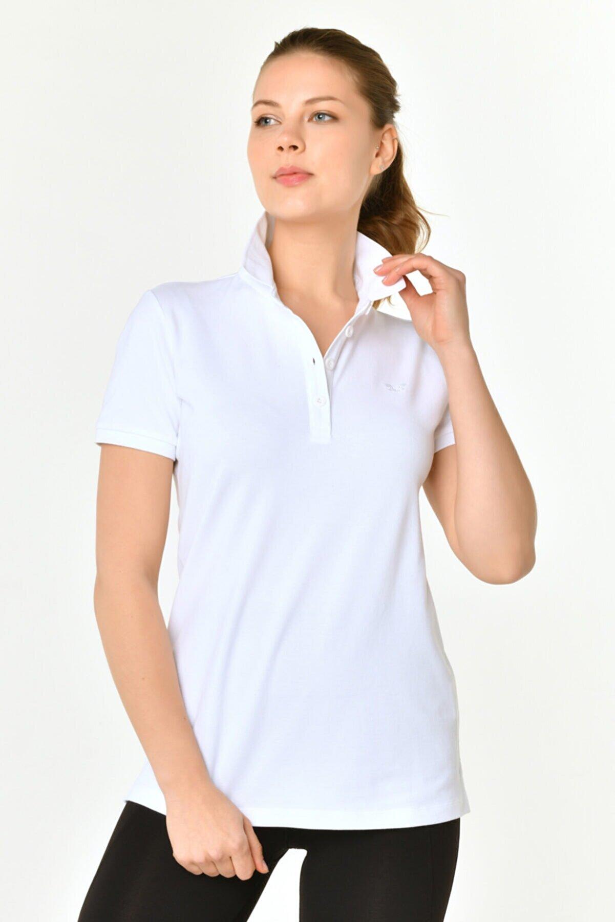 bilcee Beyaz Kadın Polo Yaka T-shırt Hs-8719