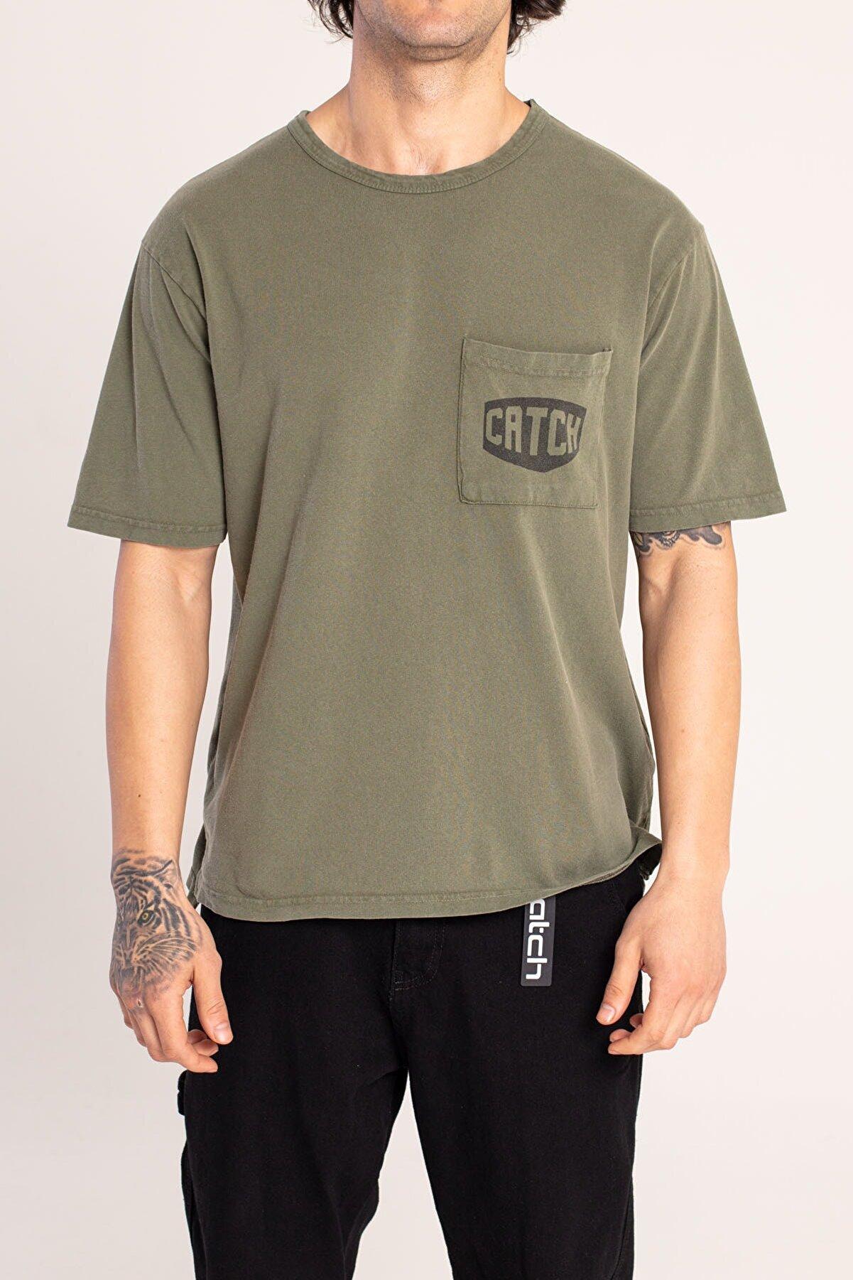 Catch Erkek Haki Cepli Bol Kalıp Yıkamalı T-shirt Y-616