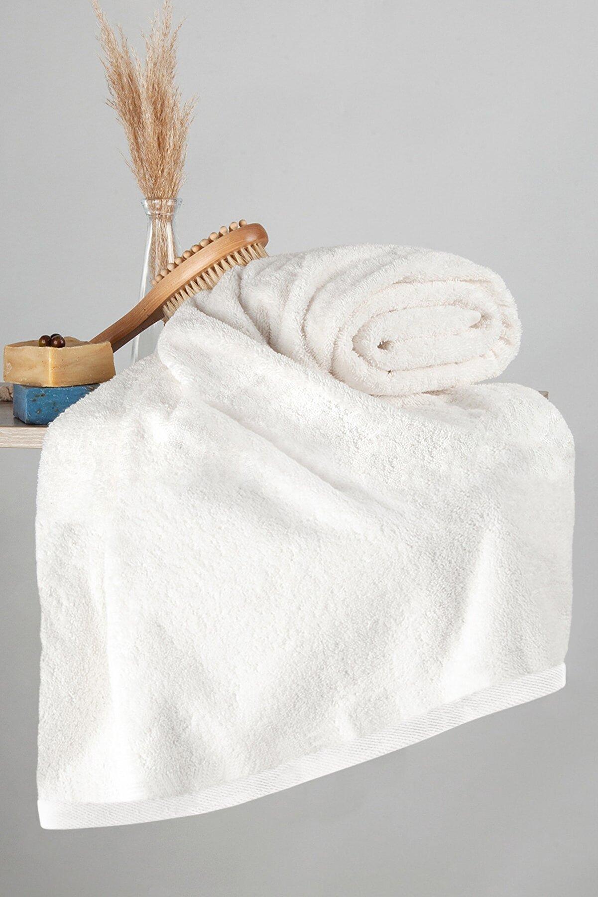 Nazik Home 400gr Pamuk Havlu 70 X 140 Banyo Vücut Havlusu Krem Renk