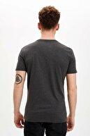 Defacto Erkek Antrasit Basic Regular Fit T-Shirt