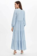 Defacto Kadın Mavi Kol Detaylı Dokuma Elbise N0361AZ.20SP.BE524