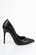 Suuet Kadın Cilt Topuklu Ayakkabı Siyah